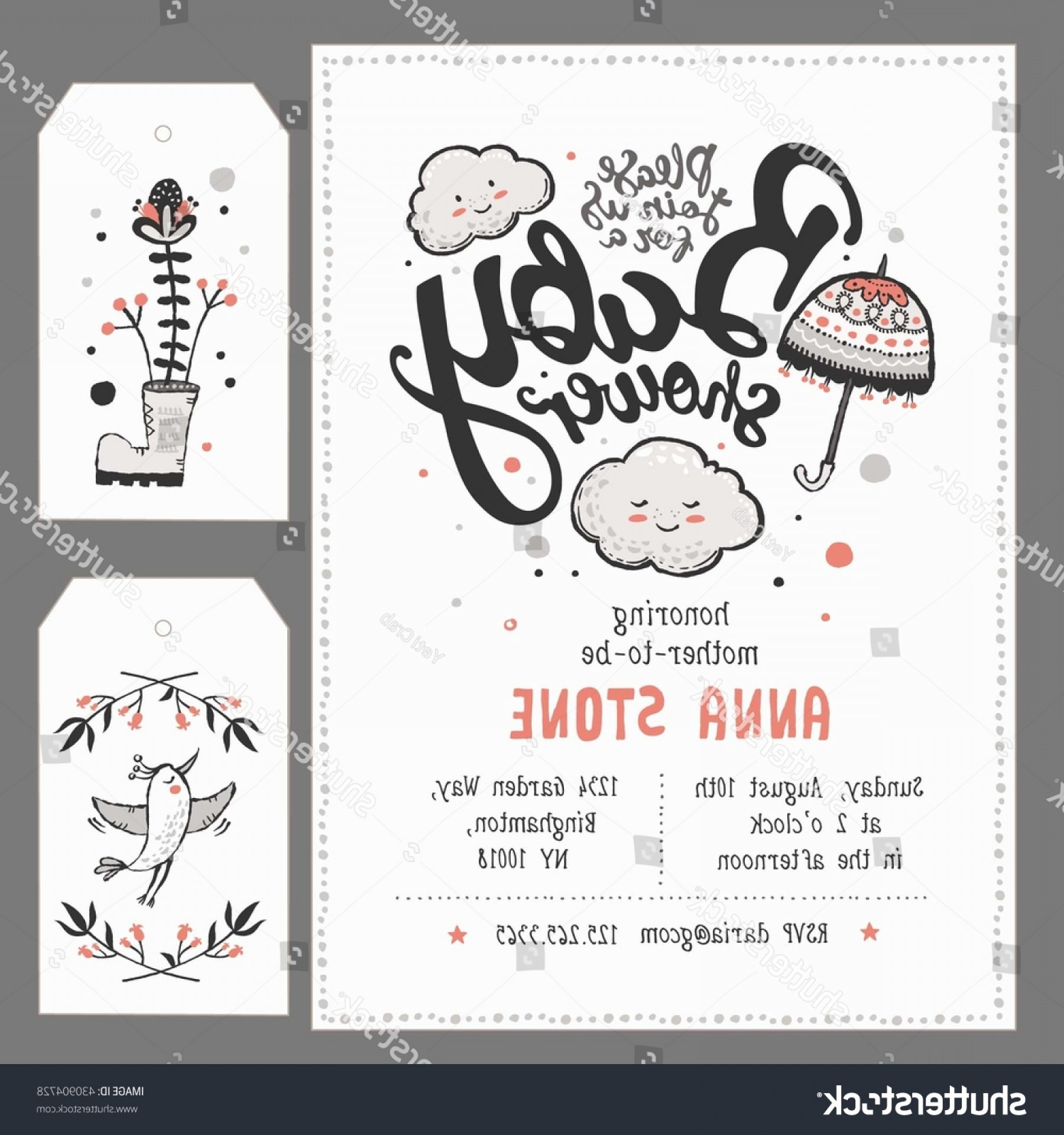 Ways To Write Vector BA: Hand Lettered Baby Shower Invitation
