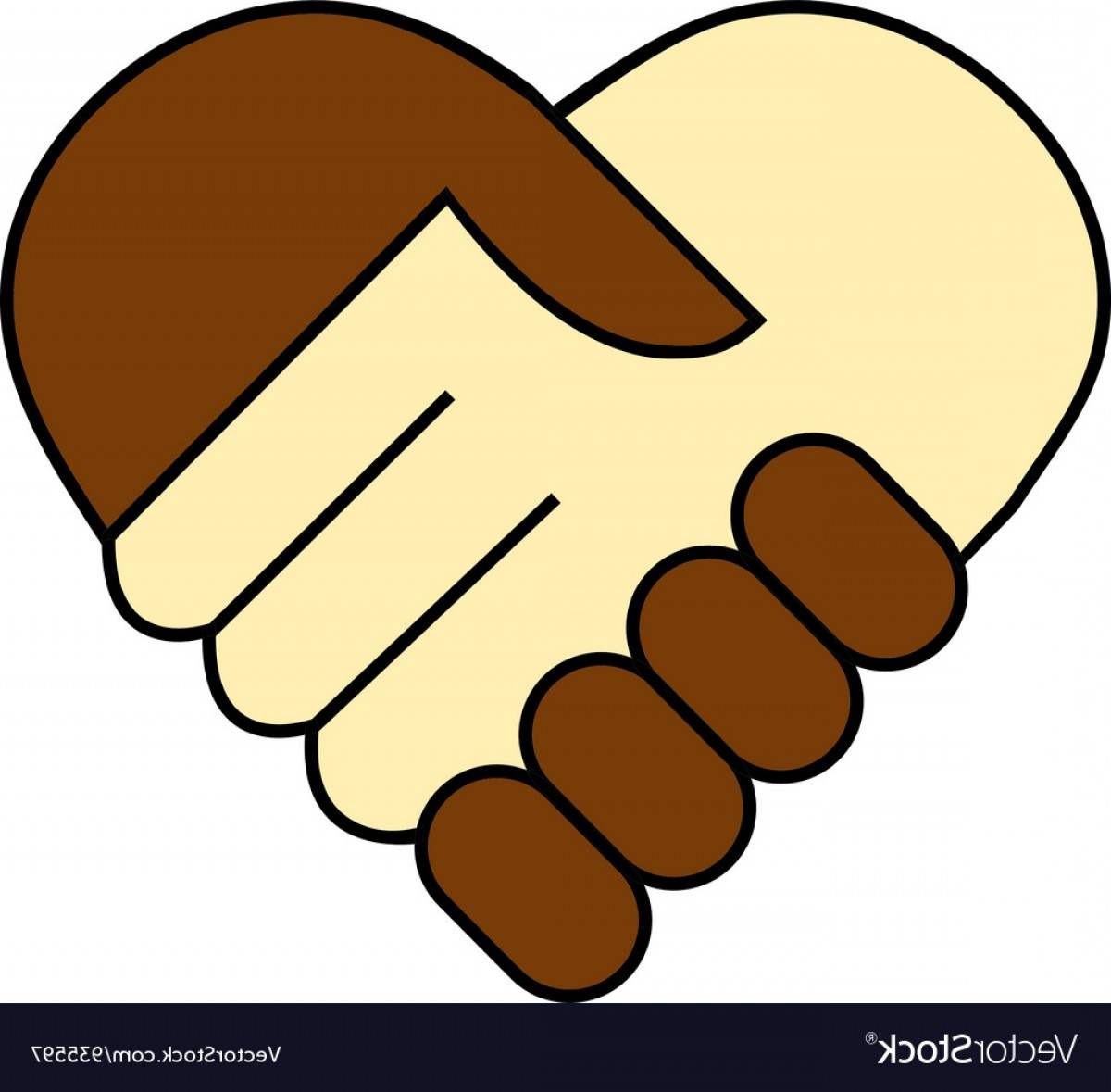 Handshake Clip Art Vector: Hand Shake Between Black And White Man Vector