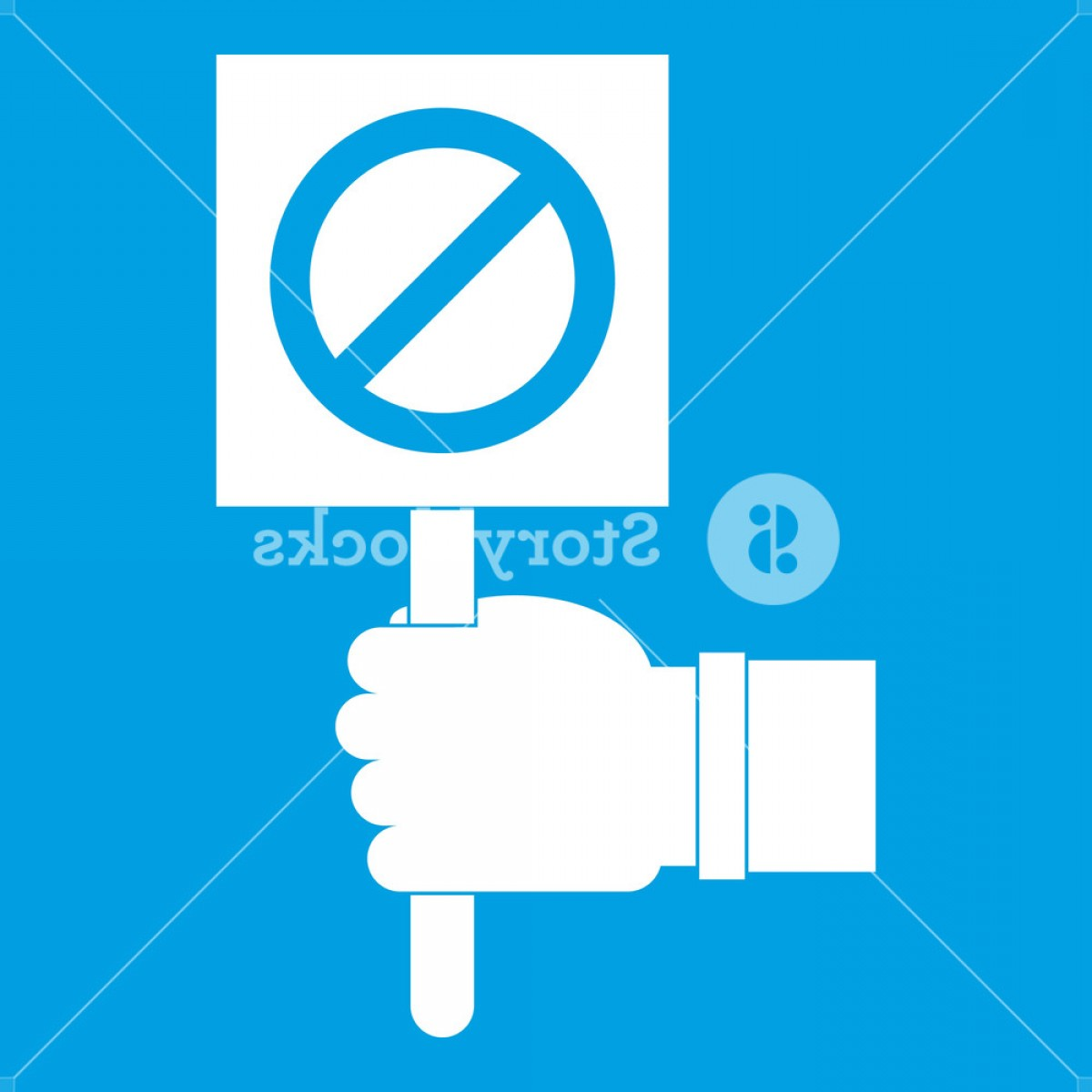 Hand Stop Vector Teal: Hand Showing Stop Signboard Icon White Isolated On Blue Background Vector Illustration Rlmxbrbmjislvd