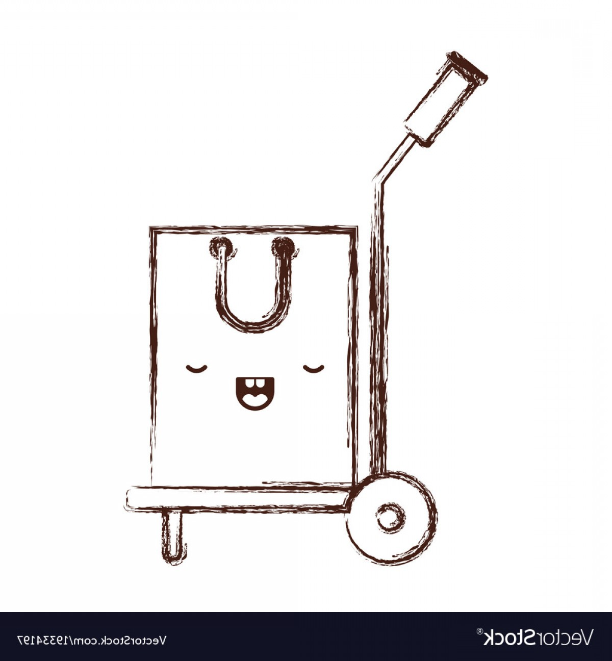 Hand Cart Silhouette Vectors: Hand Truck With Kawaii Shopping Bag In Monochrome Vector