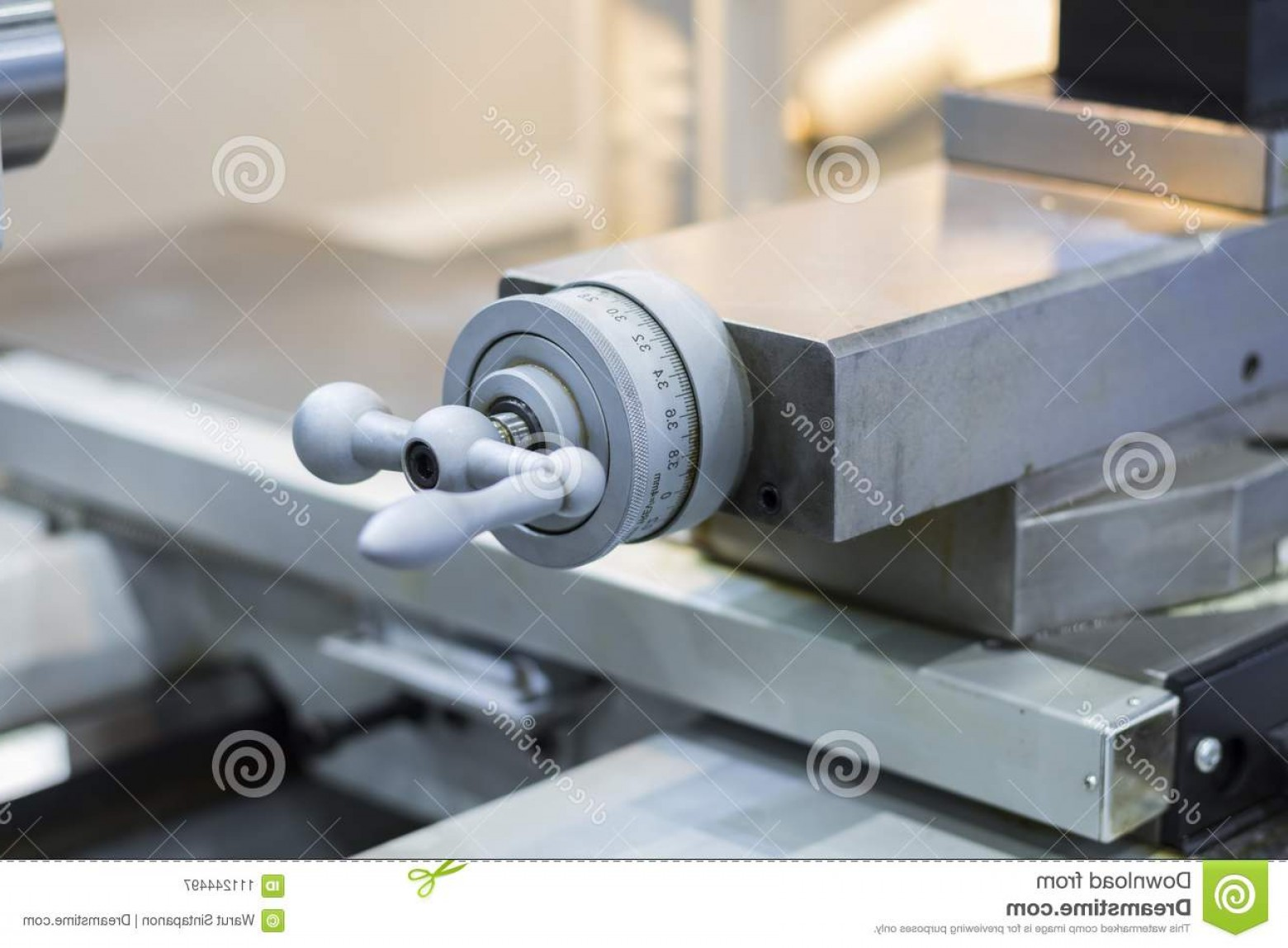 Hand Lathe Vector: Hand Wheel Manual Lathe Machine Hand Wheel Manual Lathe Machine Close Up Image