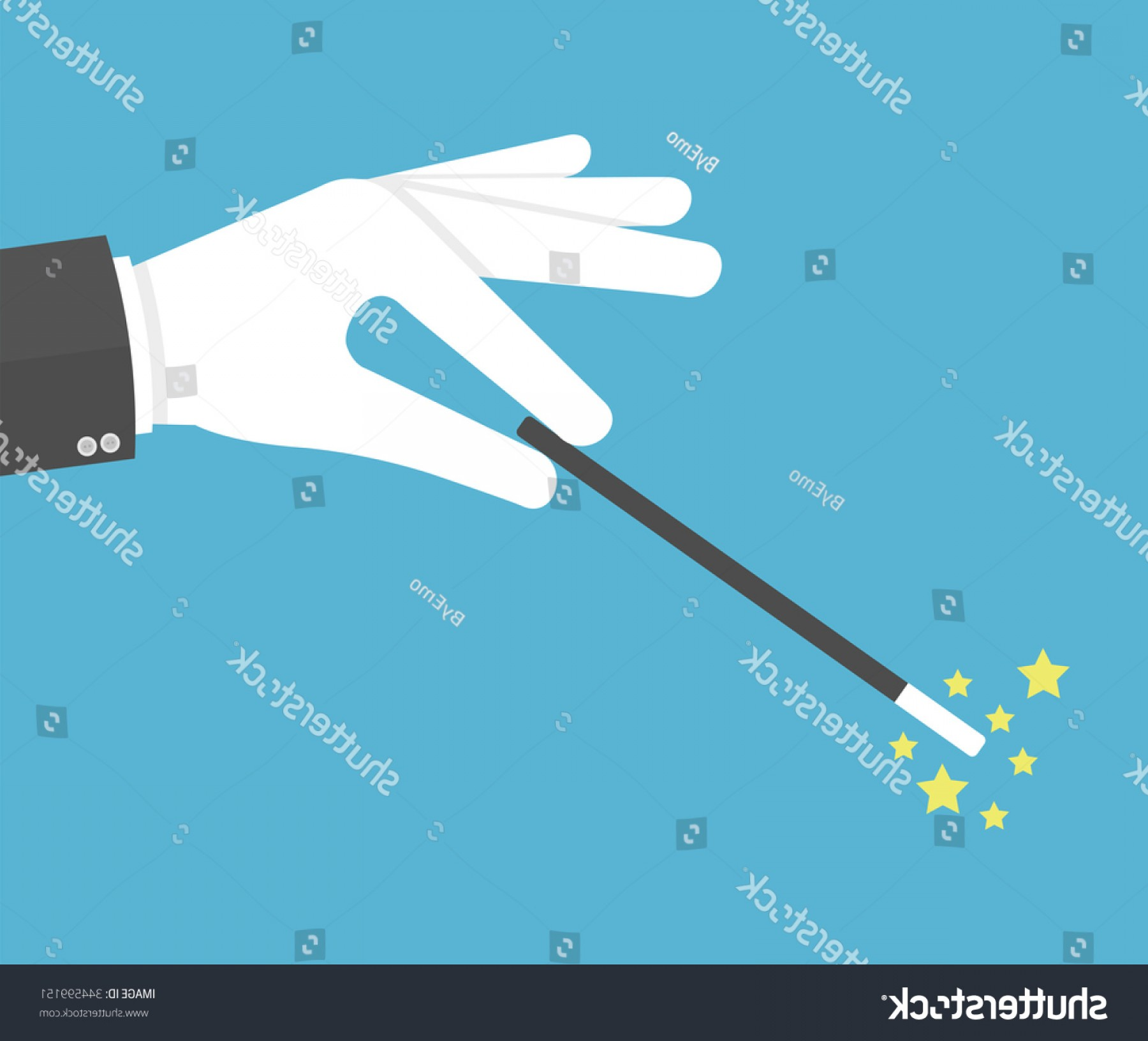 White Glove Service Vector: Hand White Glove Holding Magic Wand
