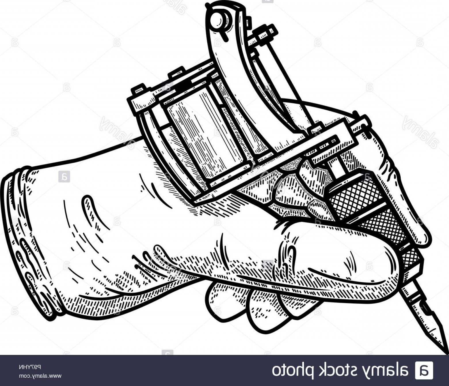Tattoo Machine Vector Clip Art: Hand With Tattoo Machine Design Element For Poster Card T Shirt Emblem Sign Vector Illustration Image