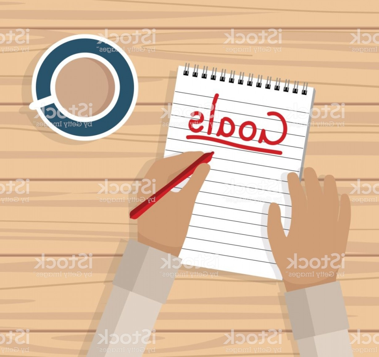 Notepad Writing Hand Vector: Hand Writing Goals List On Notepad By Coffee At Desk Gm