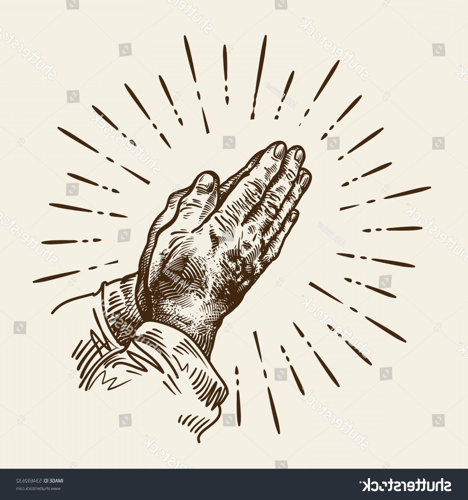 Praying Hands Vectors Shutterstock: Handdrawn Praying Hands Sketch Vector Illustration