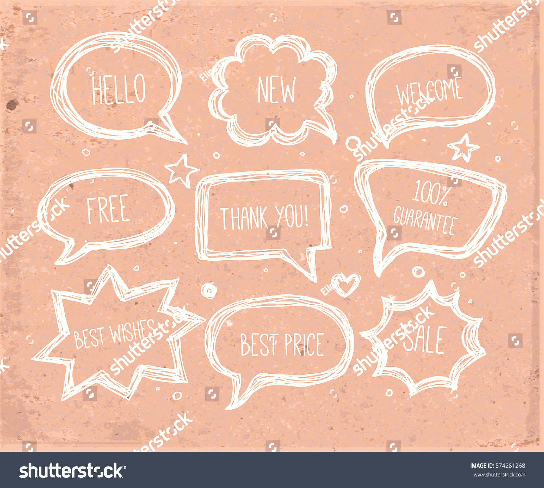 Thought Bubble Vector Sketch: Handdrawn Speech Thought Bubbles Vector Sketch