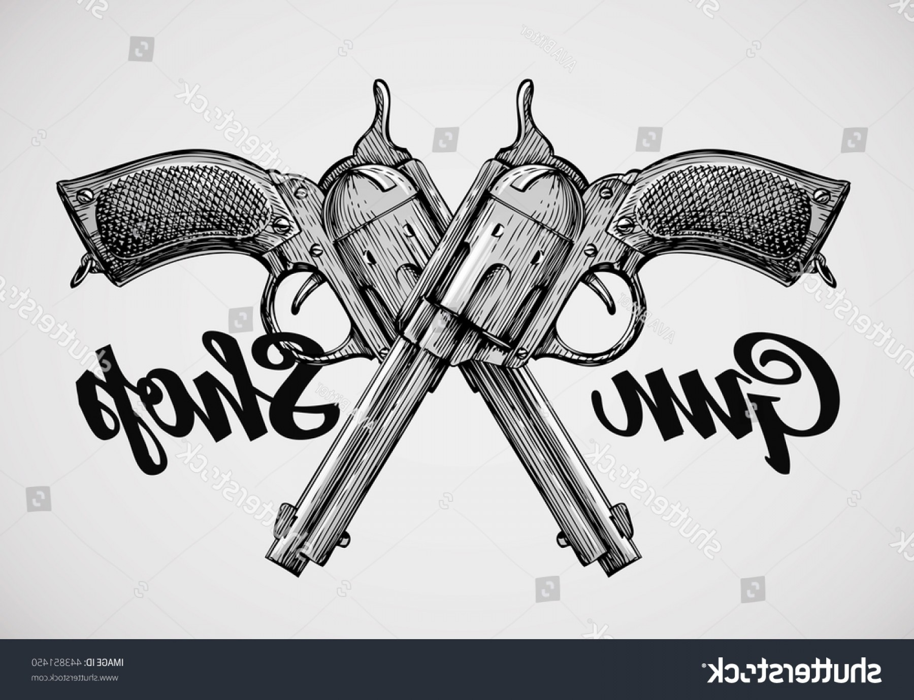 Vintage Crossed Pistols Vector: Handdrawn Vintage Guns Crossed Pistols Vector
