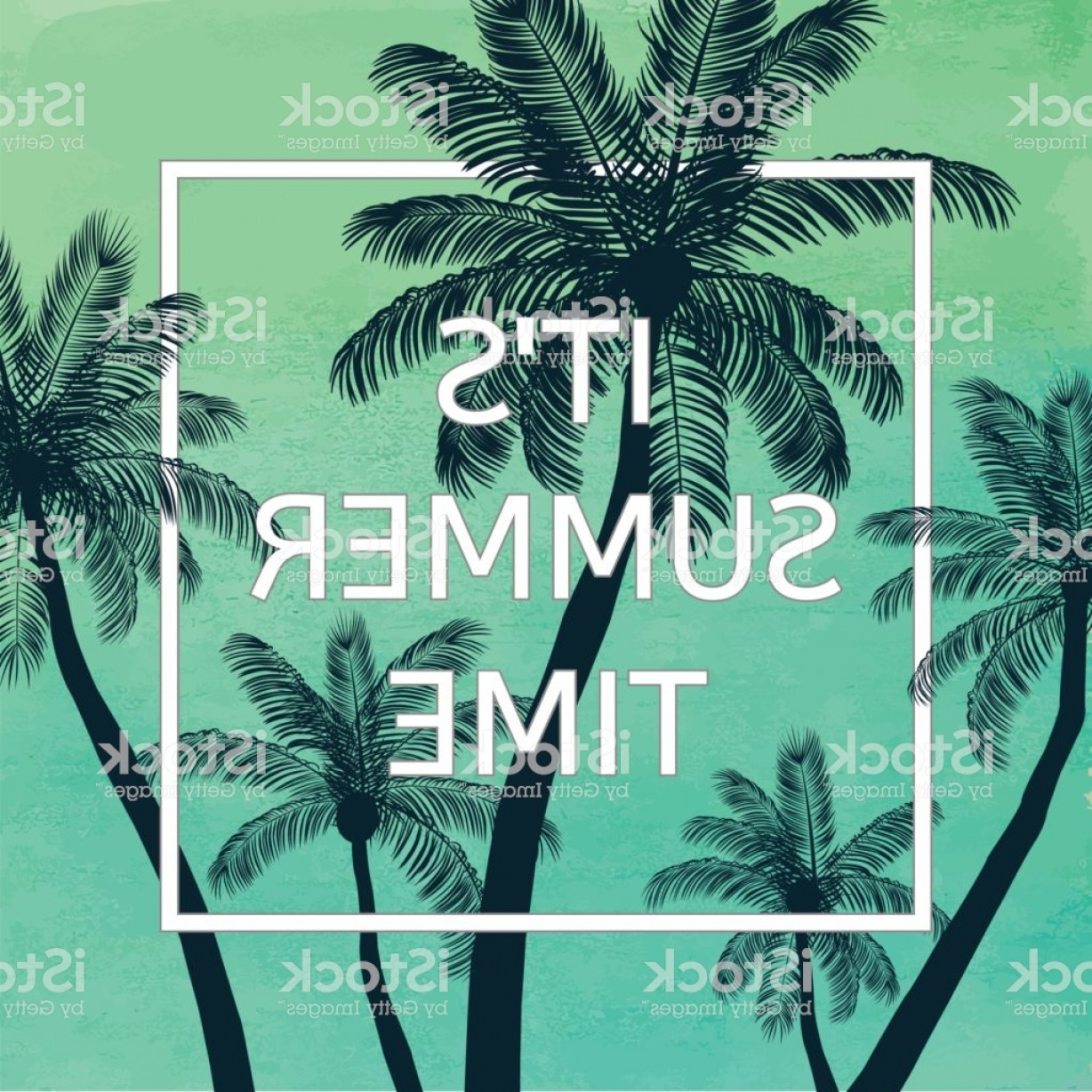 Watercolor Palm Tree Vector: Handmade Poster On Watercolor Background With Palm Trees Gm