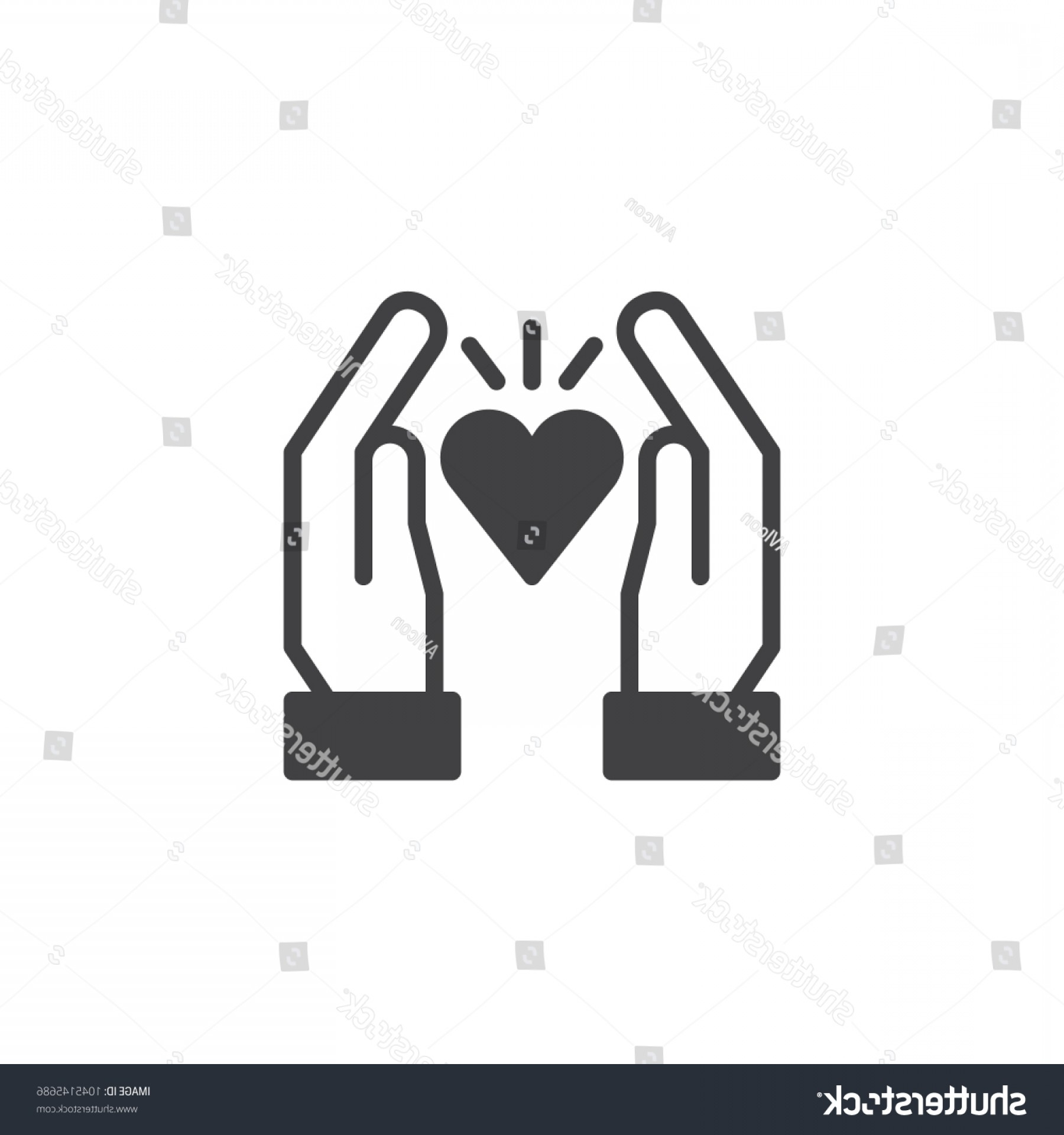 Solid Heart Vector Drawing: Hands Hold Heart Vector Icon Love