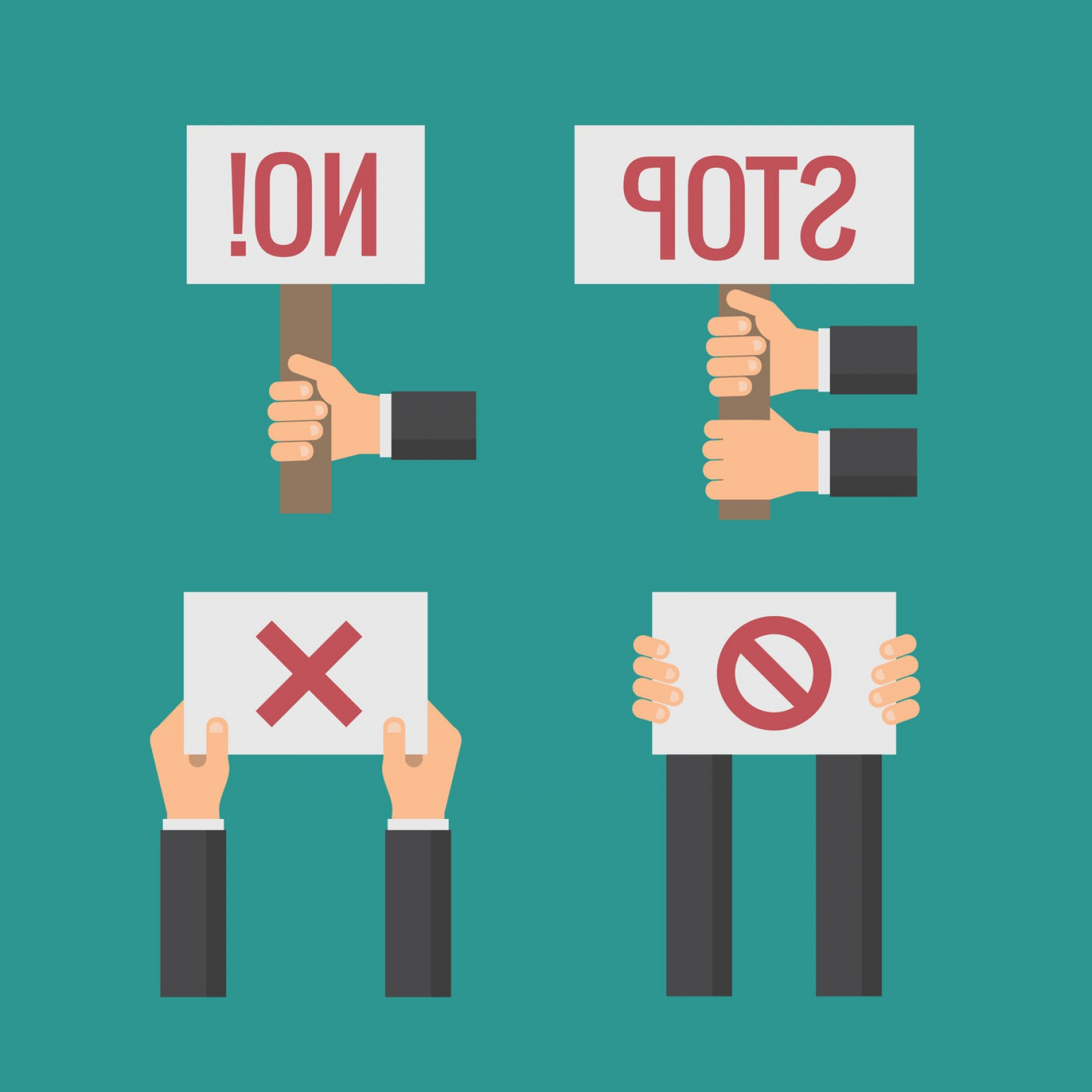 Hand Stop Vector Teal: Hands Holding No Stop Cross Forbid Protest Signs Vector Flat Set