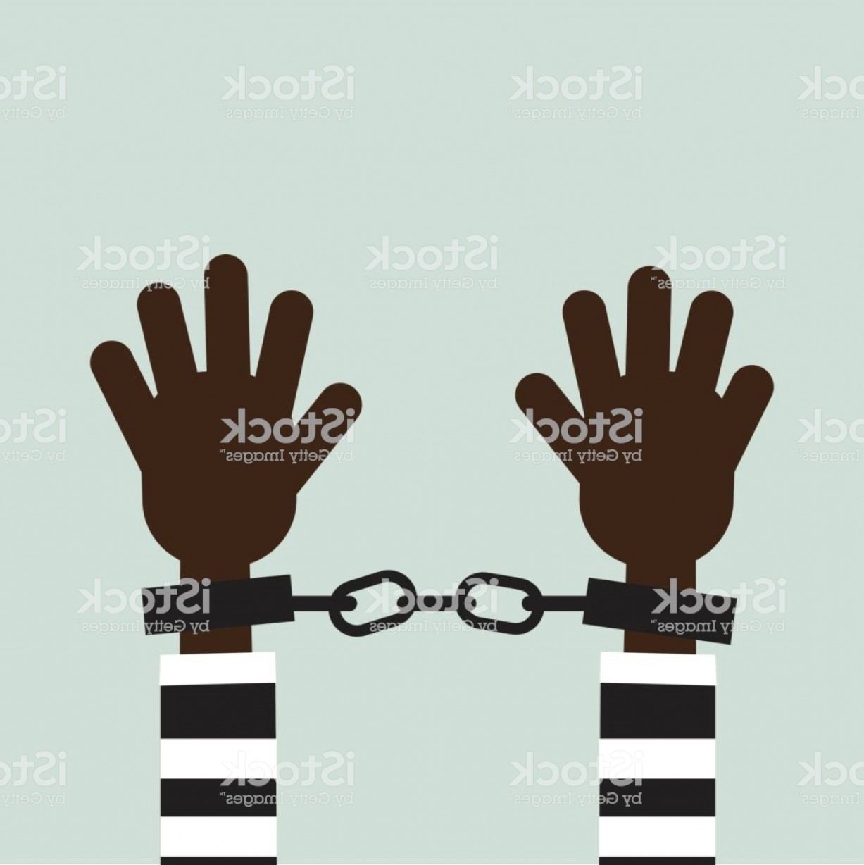 Chain And Lock Glove Vector: Hands In Handcuffs Isolated Icon Man In Jail Prisoner Vector Illustration Flat Design Gm