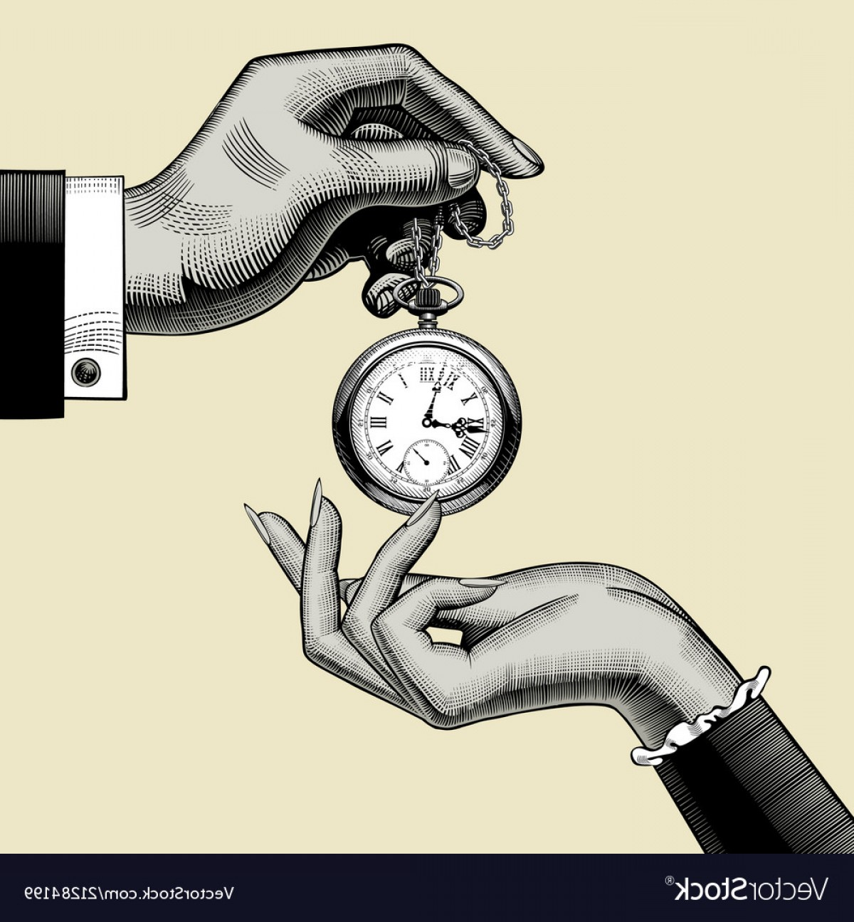 Fancy Wrist Watch Vector: Hands Of Man And Woman With A Retro Pocket Watch Vector