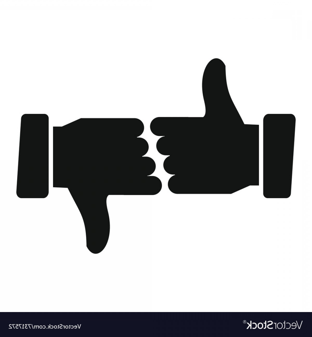Vector Thumbs Up Down: Hands Showing Thumbs Up And Down Vector