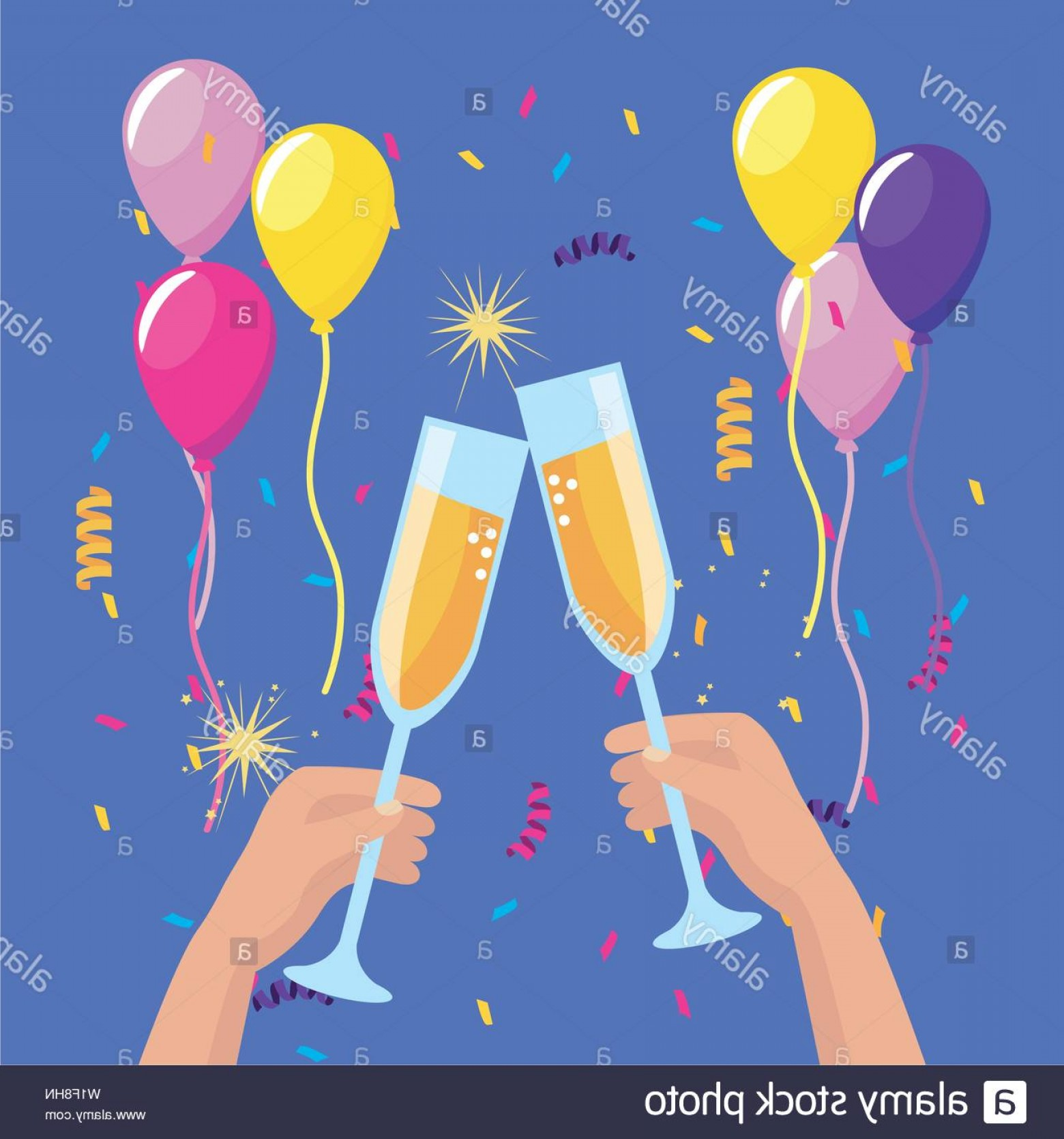 Vector Champagne Party: Hands With Champagne Glass And Balloons With Confetti To Party Event Vector Illustration Image