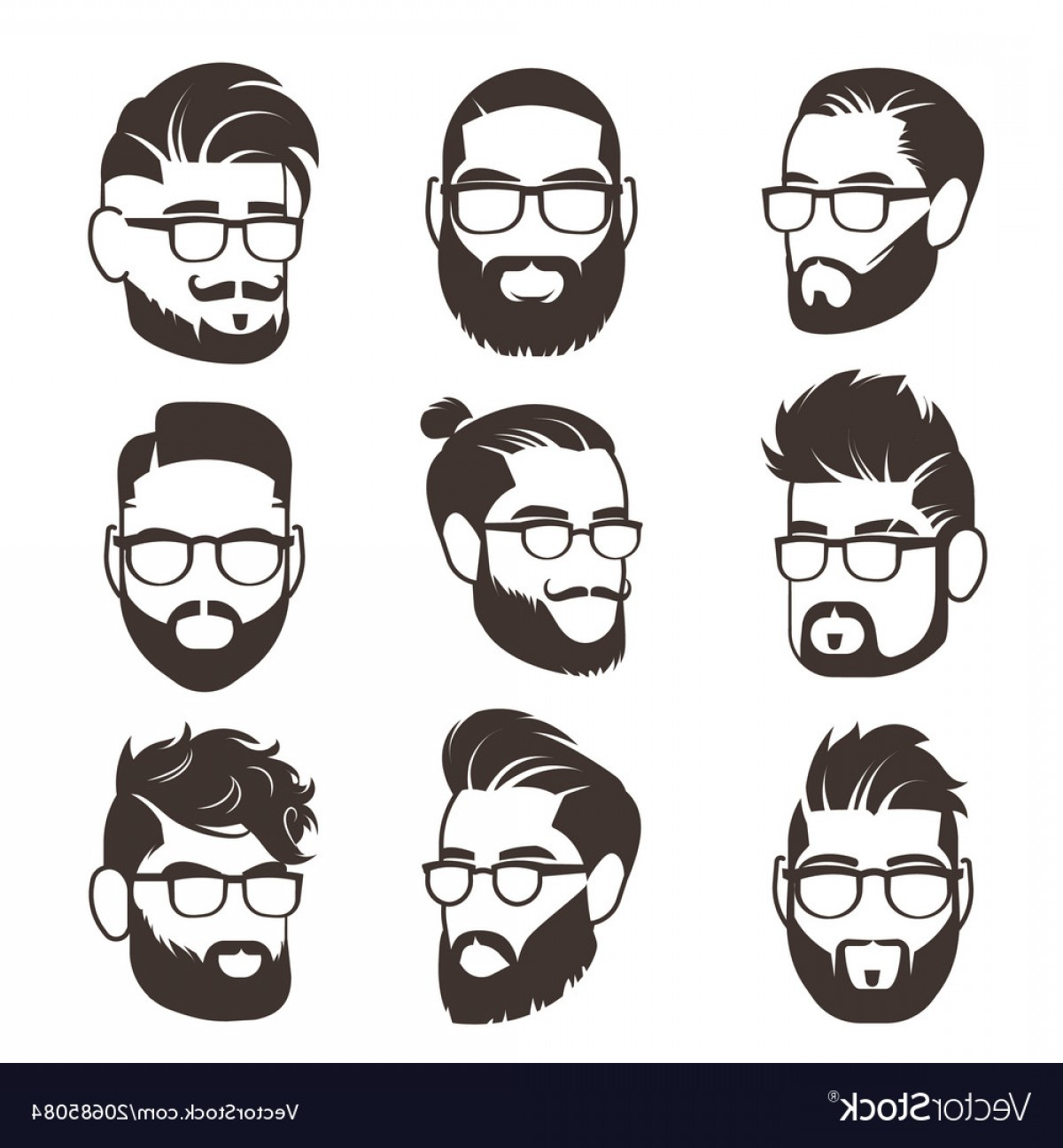 Mustache Face Vector: Handsome Bearded Hipster Man Faces With Mustache Vector