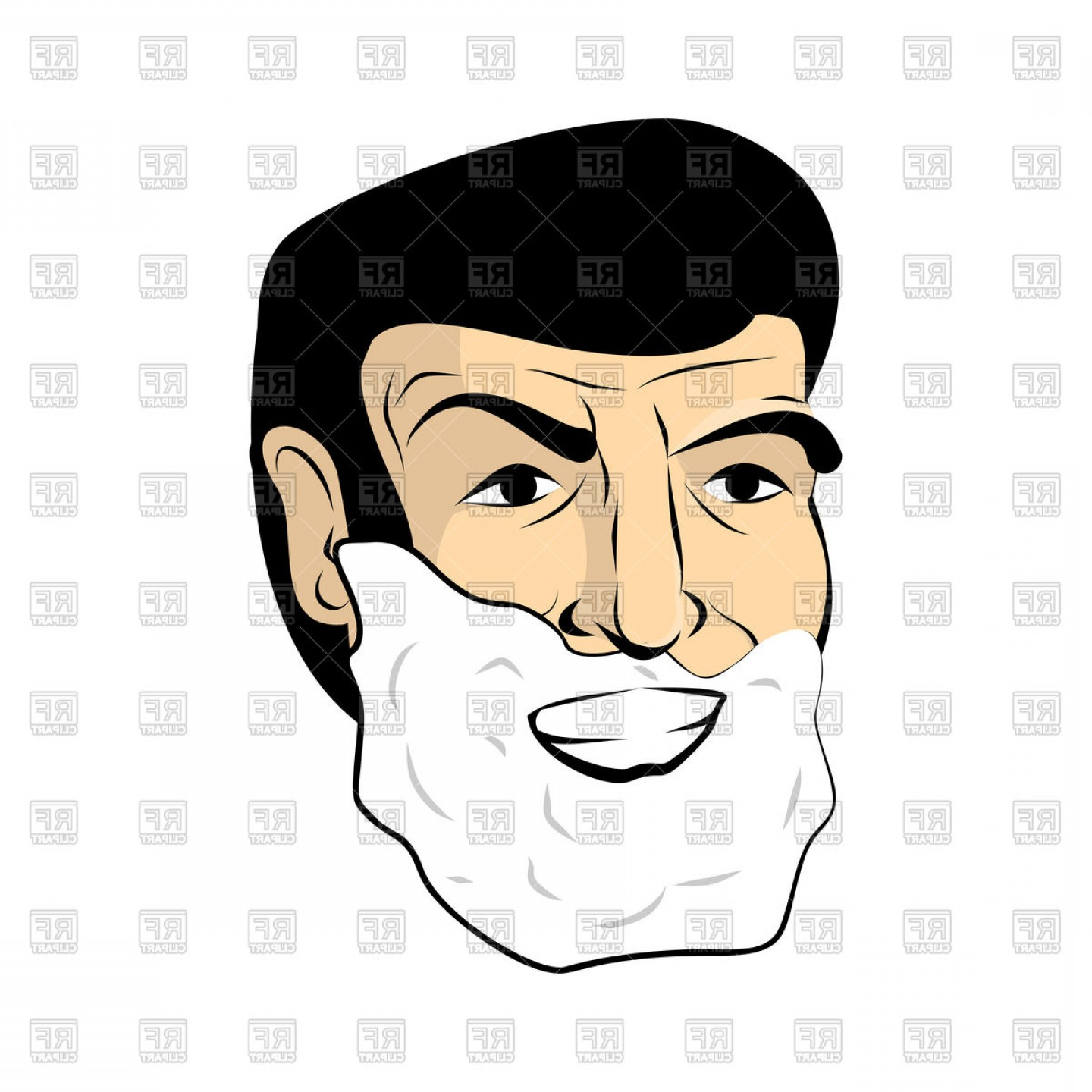 Handsome Man Vector Outline: Handsome Man With Shaving Foam Shave Beard Vector Clipart