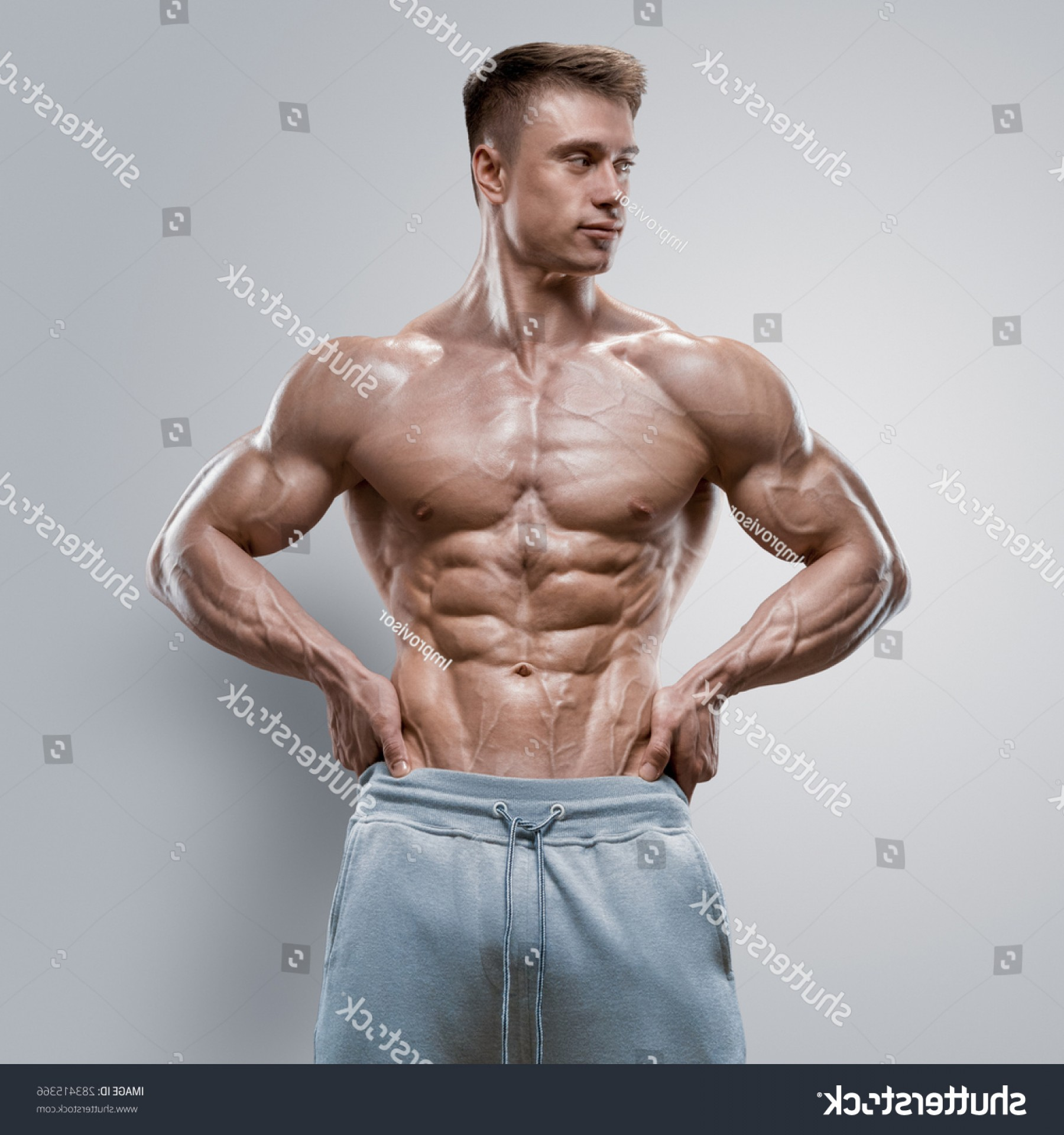 Vector Abstract Woman Bodybuilder Physique: Handsome Power Athletic Young Man Great