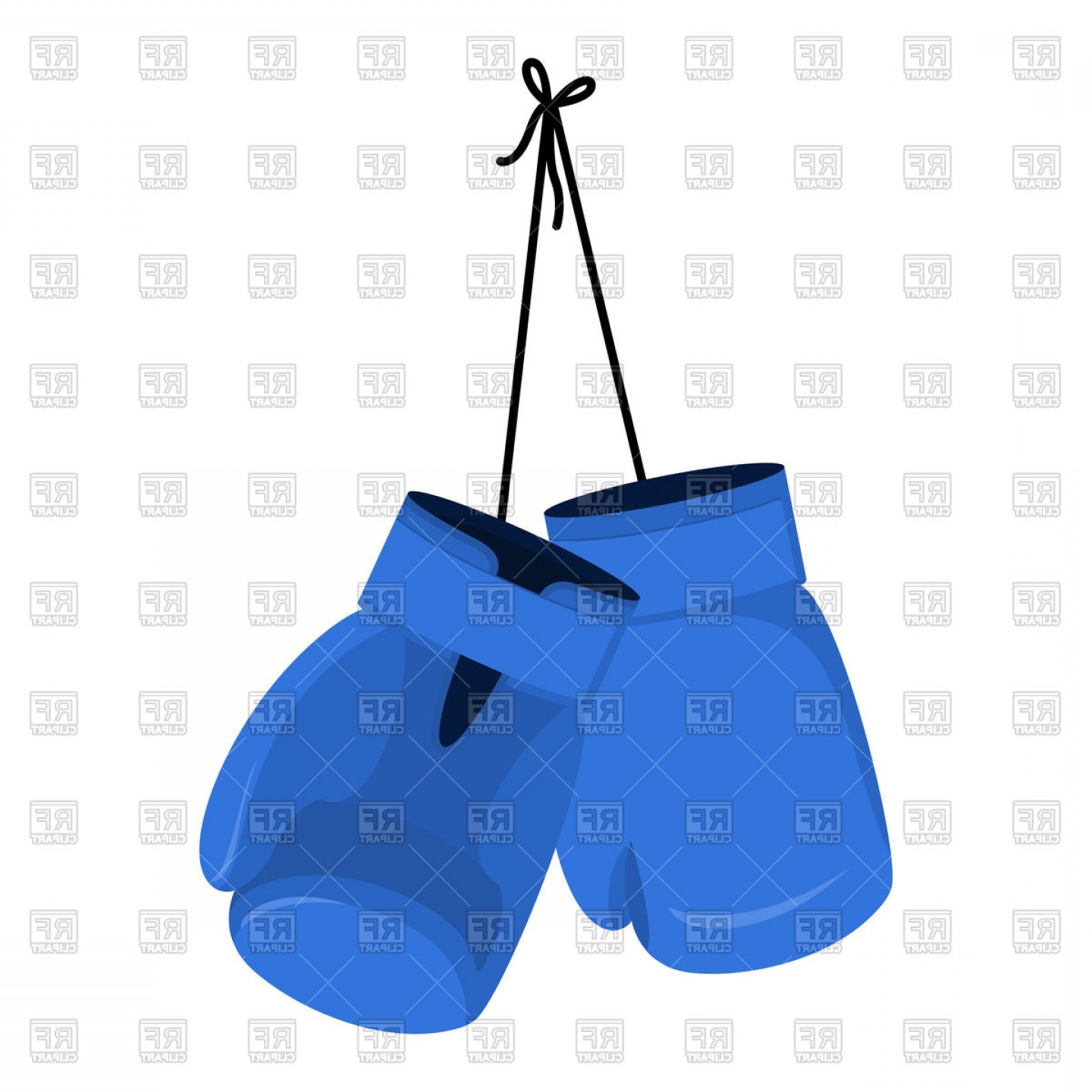 Boxing Gloves Vector Clip Art: Hanging Blue Boxing Gloves Vector Clipart