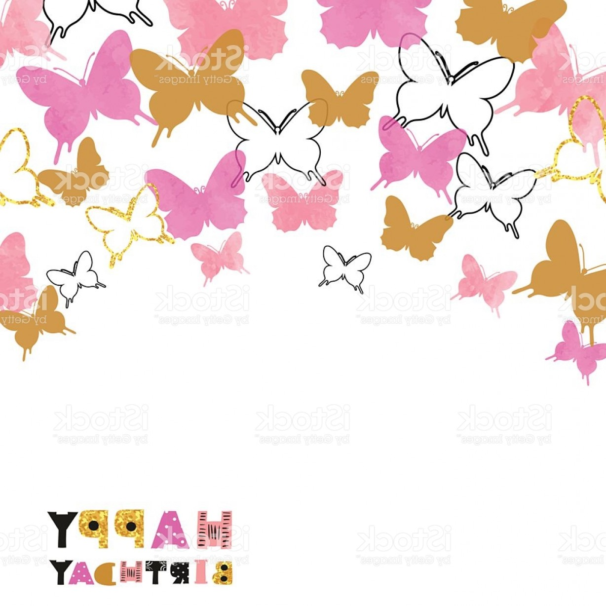Birthday Card Vector Frame Designs: Happy Birthday Card Design With Butterflies Gm