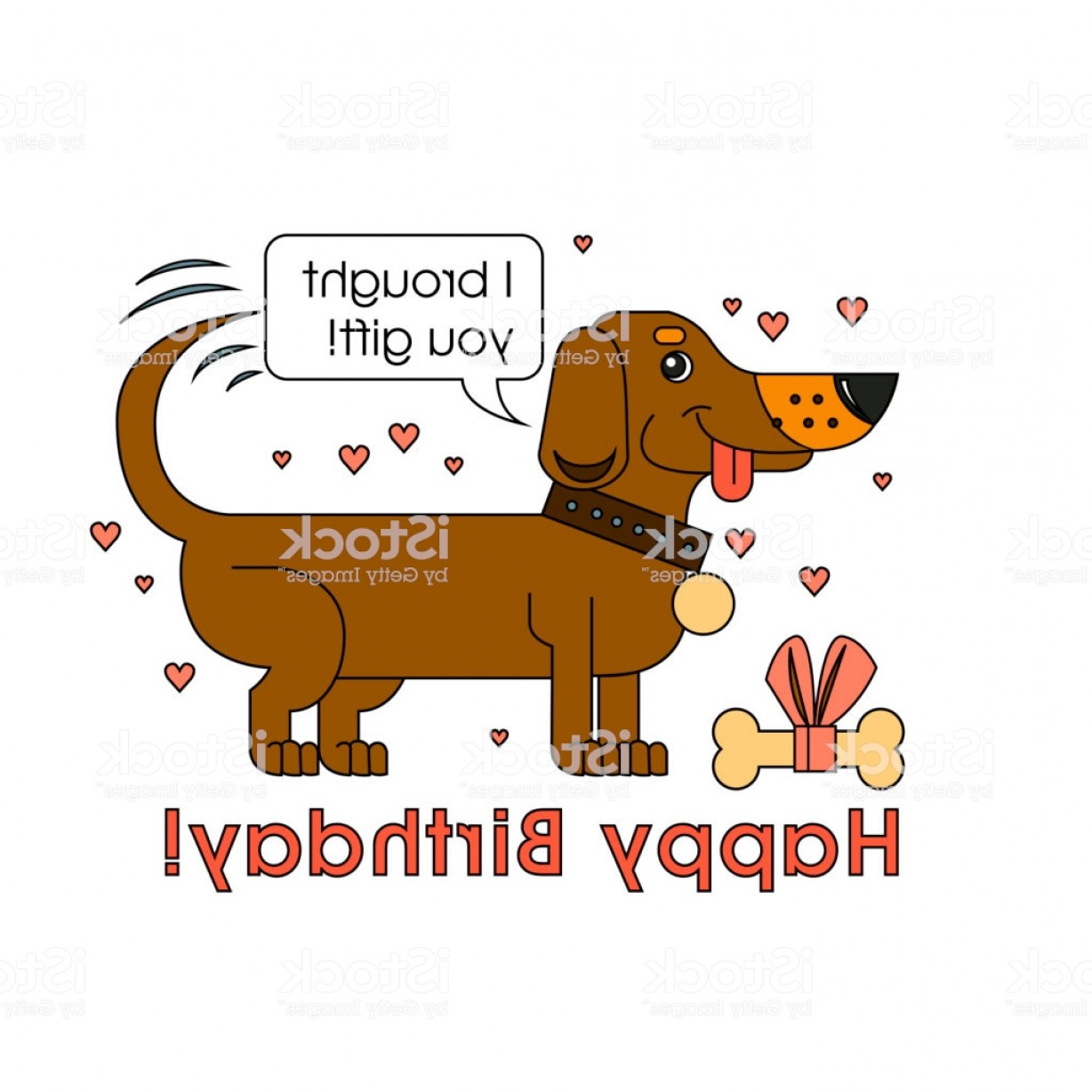 Bpxer Vector Art Happy Dog: Happy Birthday Card For Dog Lover Happy Dog Of The Breed Of Dachshund Congratulates Gm