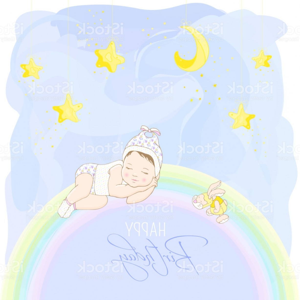 Sleeping Baby Vector: Happy Birthday Card Wirh Sleeping Baby Gm