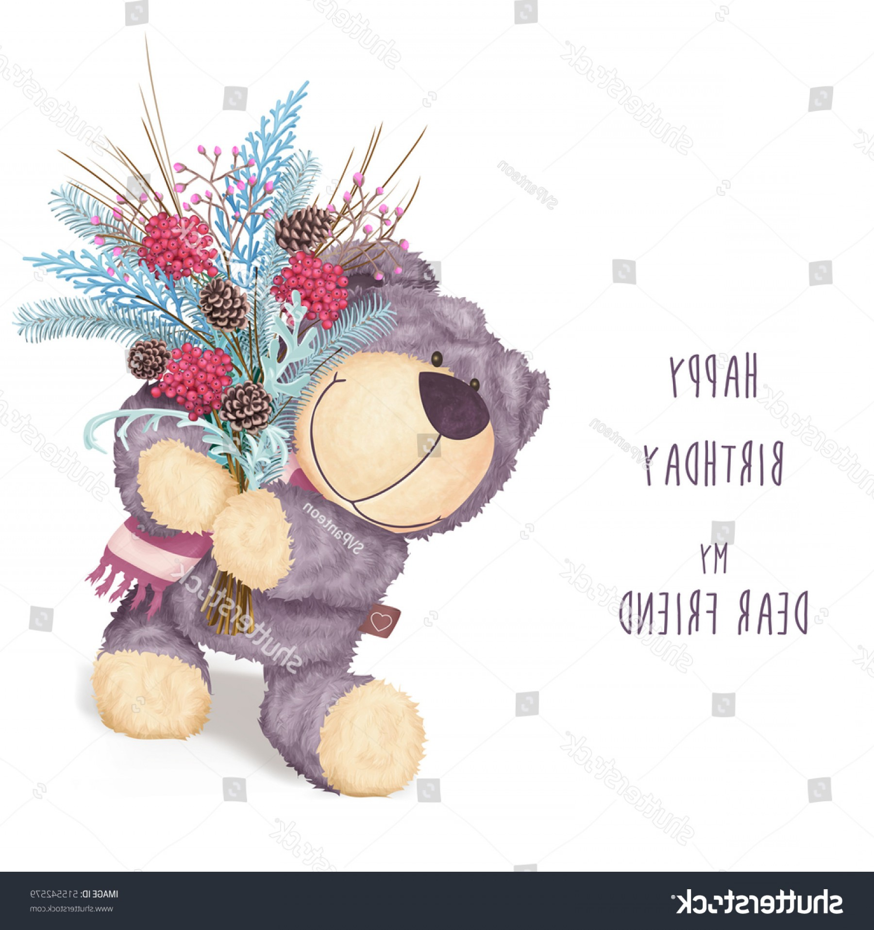 Happy Workplace Anniversary Vector: Happy Birthday Greeting Card Bear Winter