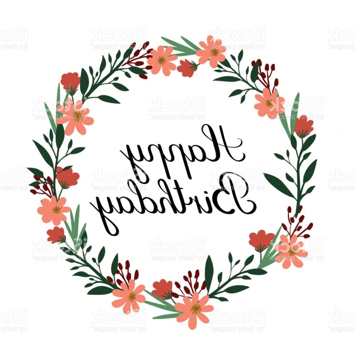Floral Vector Calligraphy: Happy Birthday Hand Lettering Greeting Card Vector Calligraphy Floral Wreath Gm