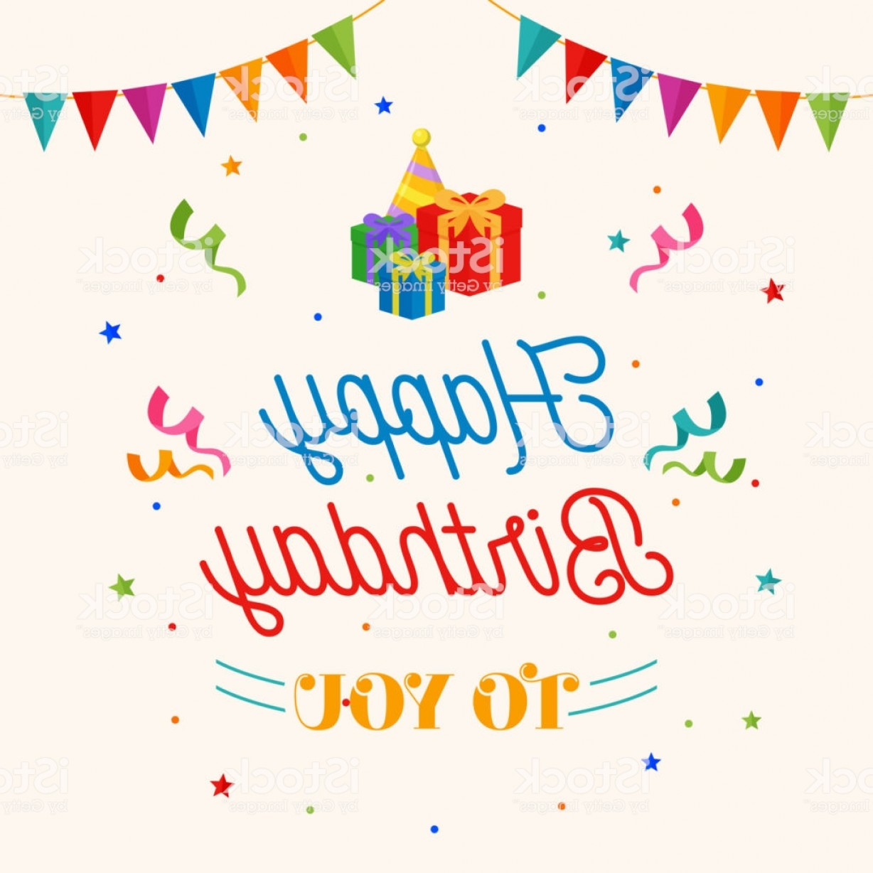 Happy Birthday Vector Art Backdrop: Happy Birthday To You Background Vector Gift Box Party Hat Illustration With Flag Gm