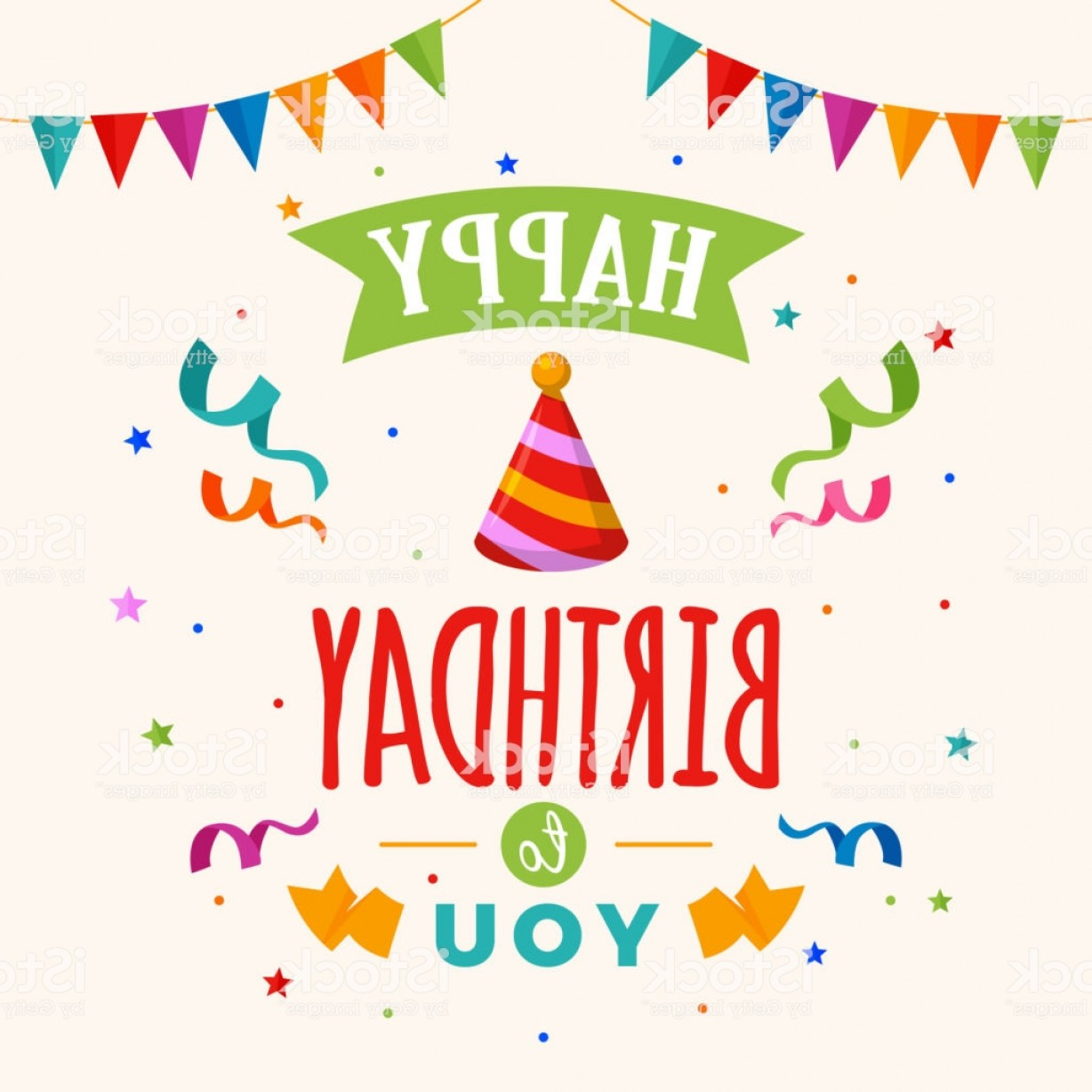 Happy Birthday Vector Art Backdrop: Happy Birthday To You Greeting Card Vector Party Hat Illustration With Flag And Gm