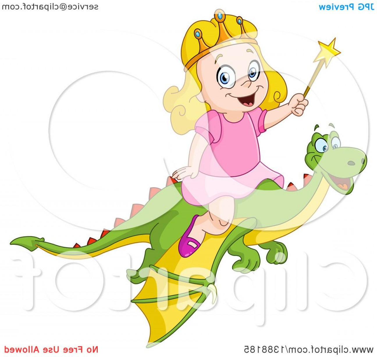 Riding A Dragon Art Vector Clip Art: Happy Blond Caucasian Princess Girl Riding A Flying Dragon And Holding A Wand