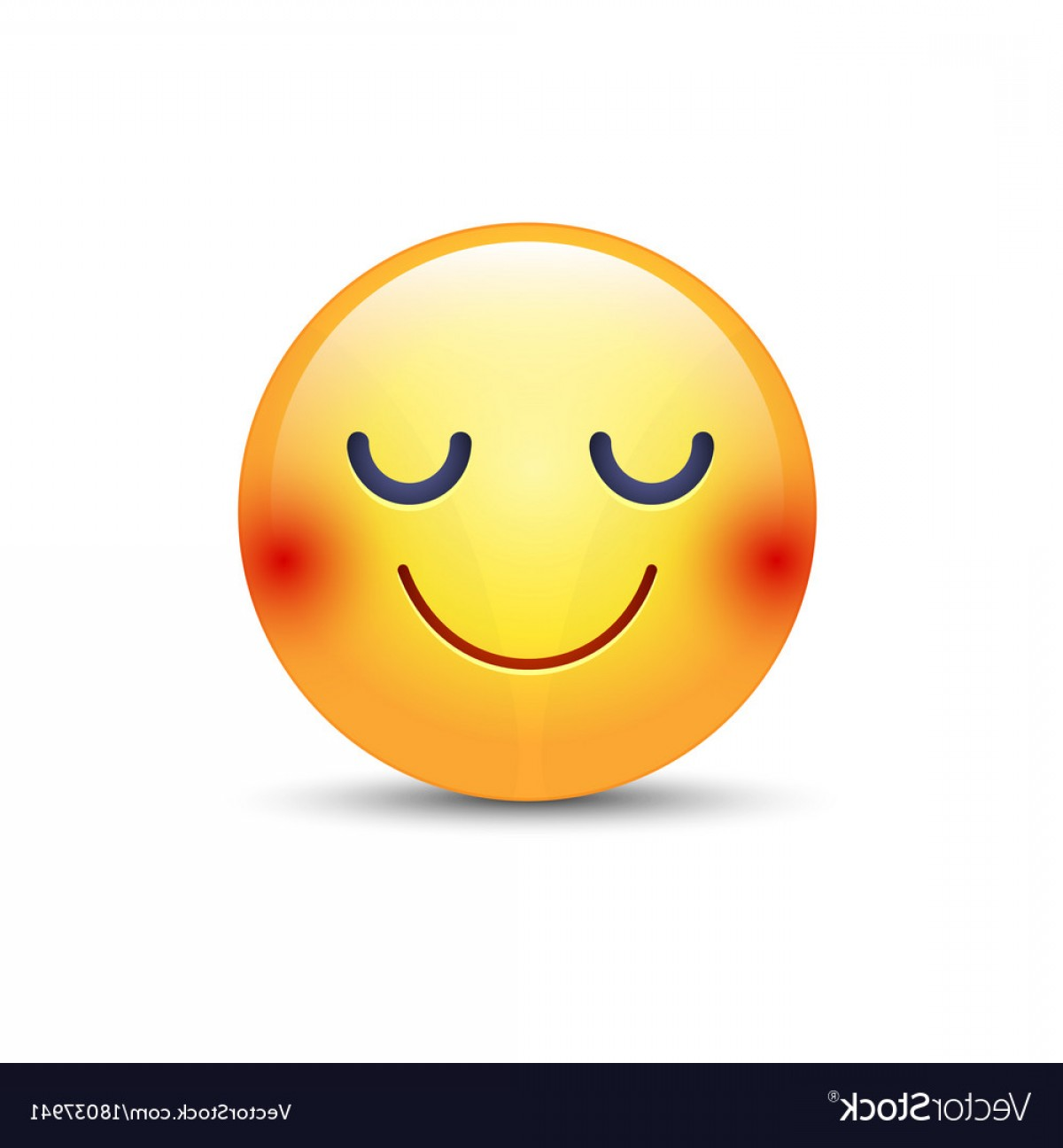 Excited Face Emoji Vector: Happy Cartoon Emoji Face With Closed Eyes Smiling Vector