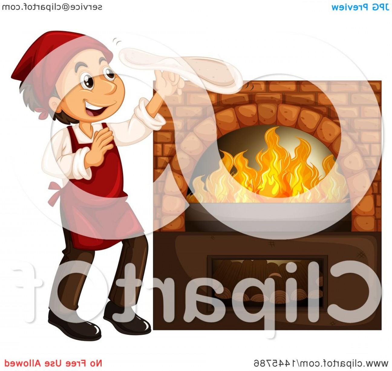 Happy Oven Vector: Happy Chef Hand Tossing Pizza Dough By A Wood Fired Brick Oven