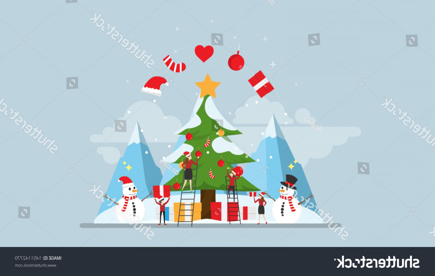 Concepto Vector: Happy Christmas Moment Tiny People Character