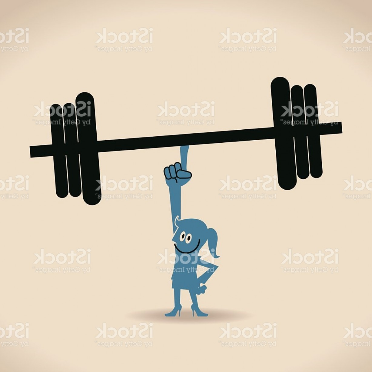 Weightlifter Vector Art: Happy Confident Businesswoman Weightlifting By Index Finger Gm
