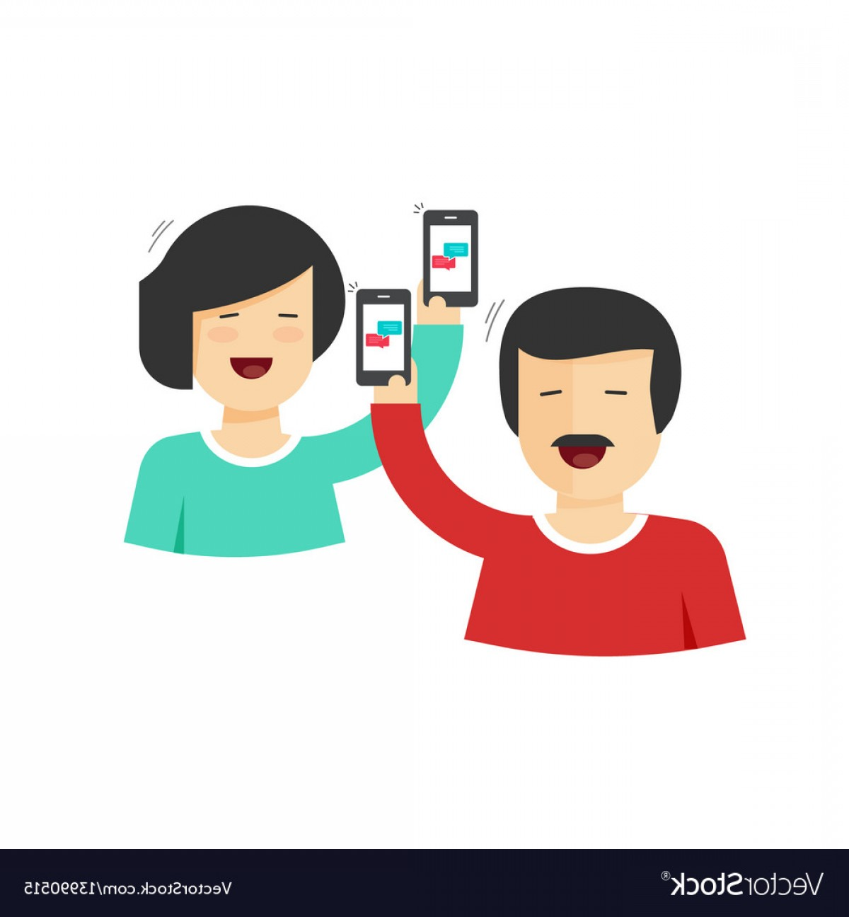 Vector Person Holding: Happy Couple Man And Woman Holding Mobile Phones Vector
