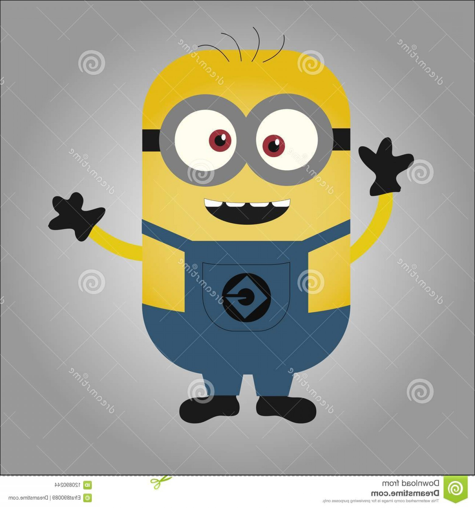 Animated Despicable Me Vector: Happy Cross Eyed Minion Waving Hands Black Gloves Despicable Me Cartoon Vector Art Yellow Image