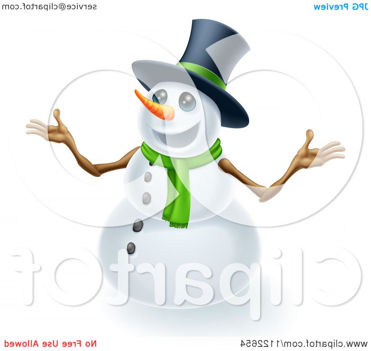 No Hat With Snowman Vector: Happy Cute Snowman Wearing A Top Hat And Scarf