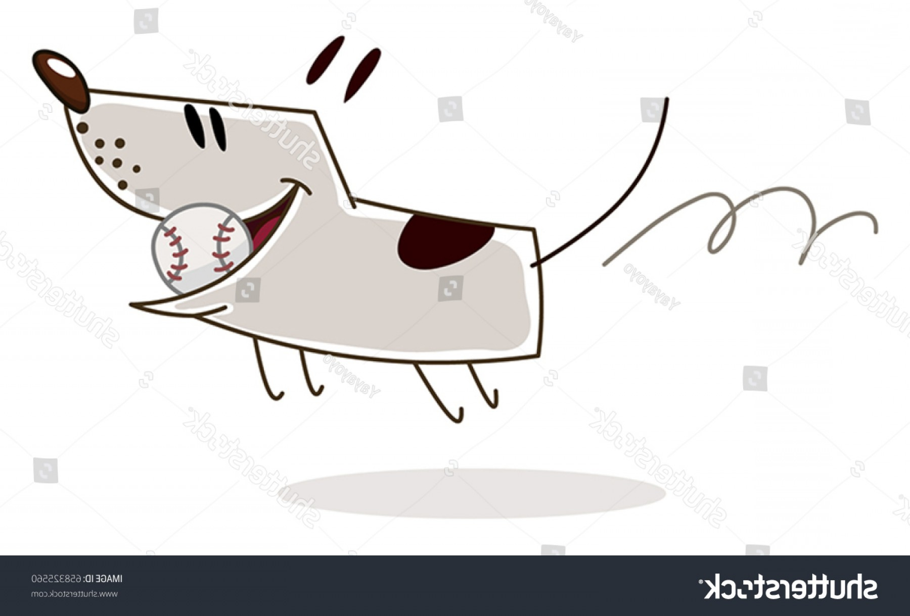 Baseball Tails Vector Clip Arts: Happy Dog Running Baseball Ball Mouth
