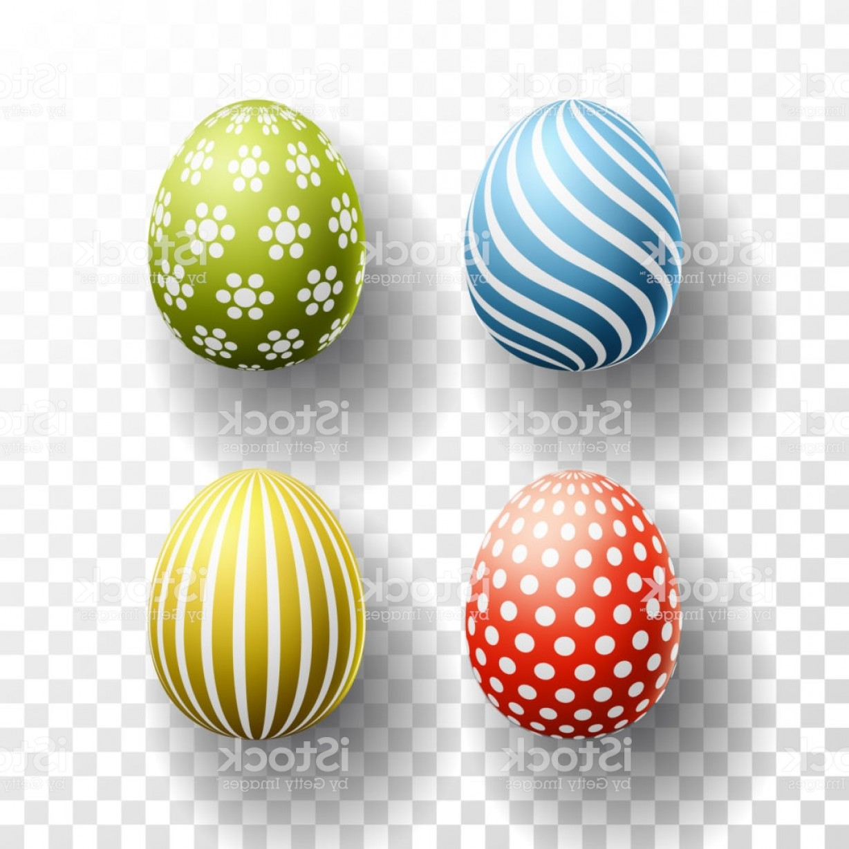 Easter Vector Art No Background: Happy Easter Colored Eggs Set With Shadows On Transparent Background Vector Gm