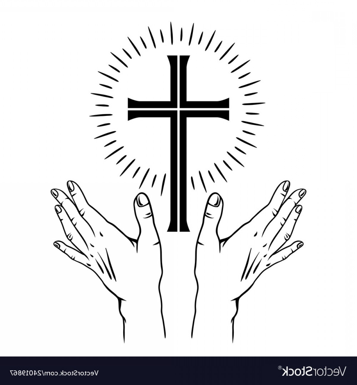 Easter Cross Vector: Happy Easter Concept Cross And Vector