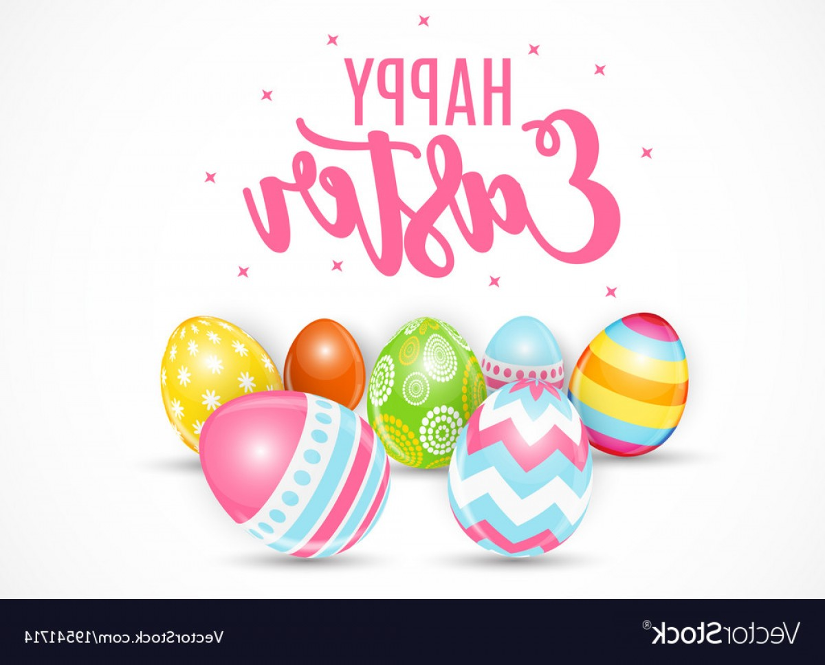 Easter Vector Art No Background: Happy Easter Cute Background With Eggs Vector