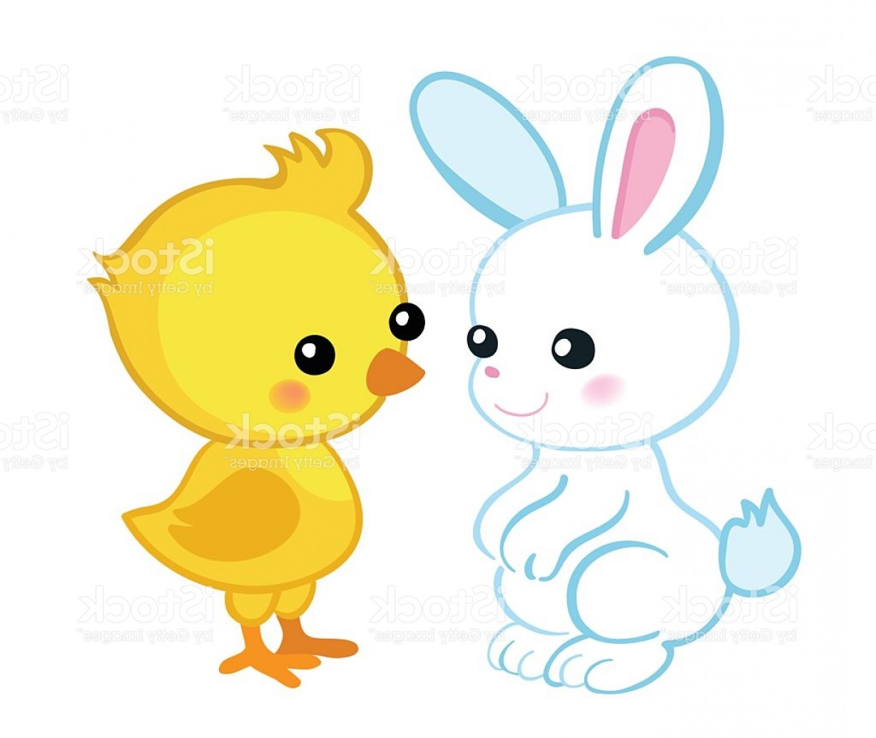 Vector Easter Rabbit Face: Happy Easter Cute Easter Bunny And A Cute Chick Gm