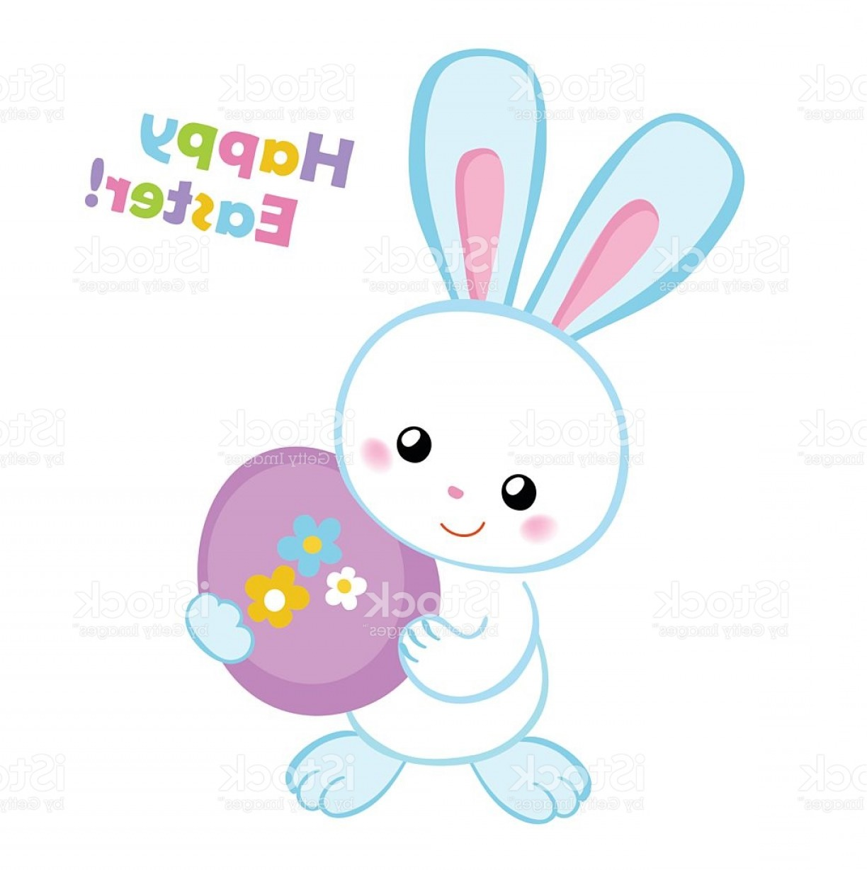 Vector Easter Rabbit Face: Happy Easter Cute Easter Bunny Holding An Egg Gm