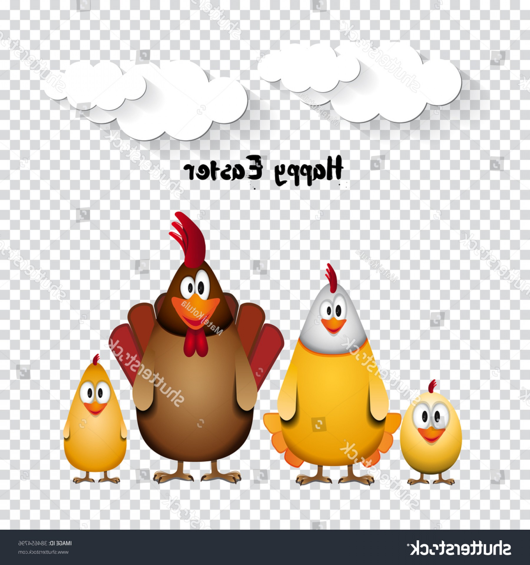 Easter Vector No Background: Happy Easter Funny Chicken Family Vector