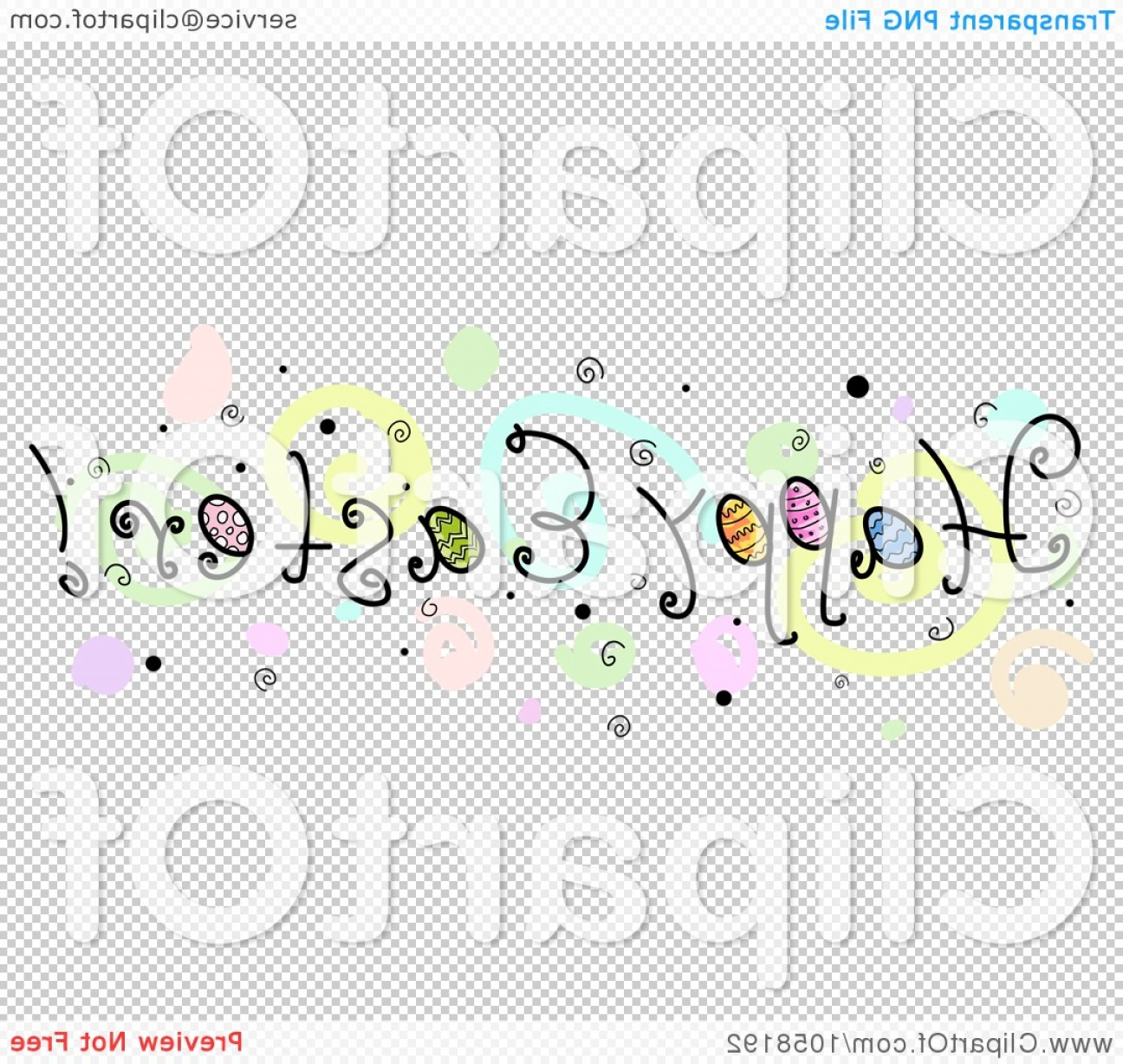 Easter Vector No Background: Happy Easter Greeting With Spirals And Bubbles