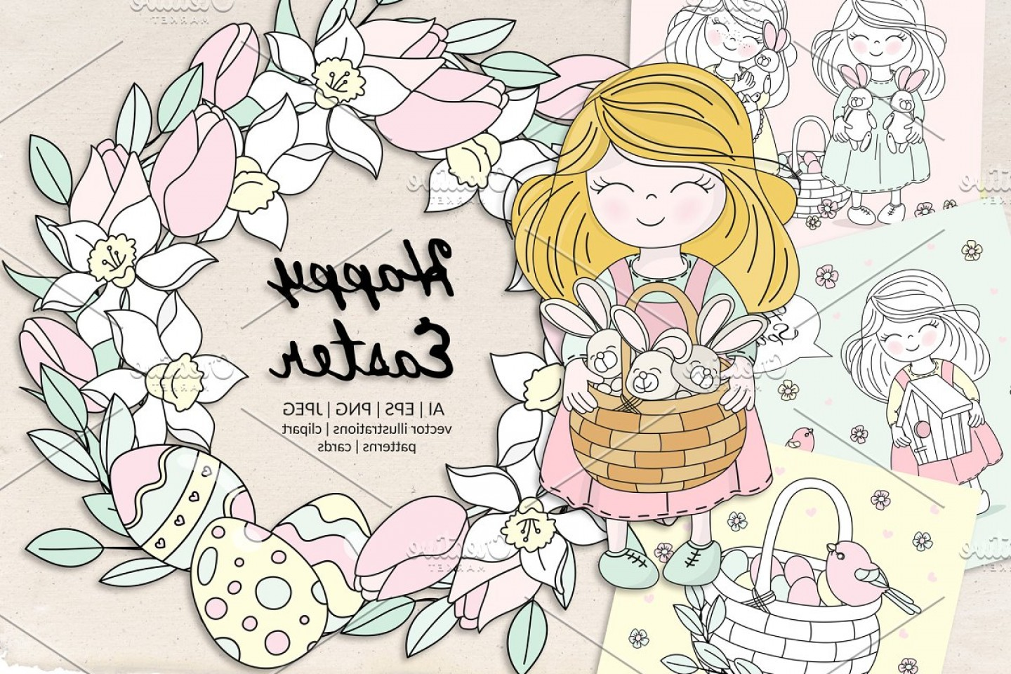 Religious Easter Vector Files: Happy Easter Holiday Vector Set