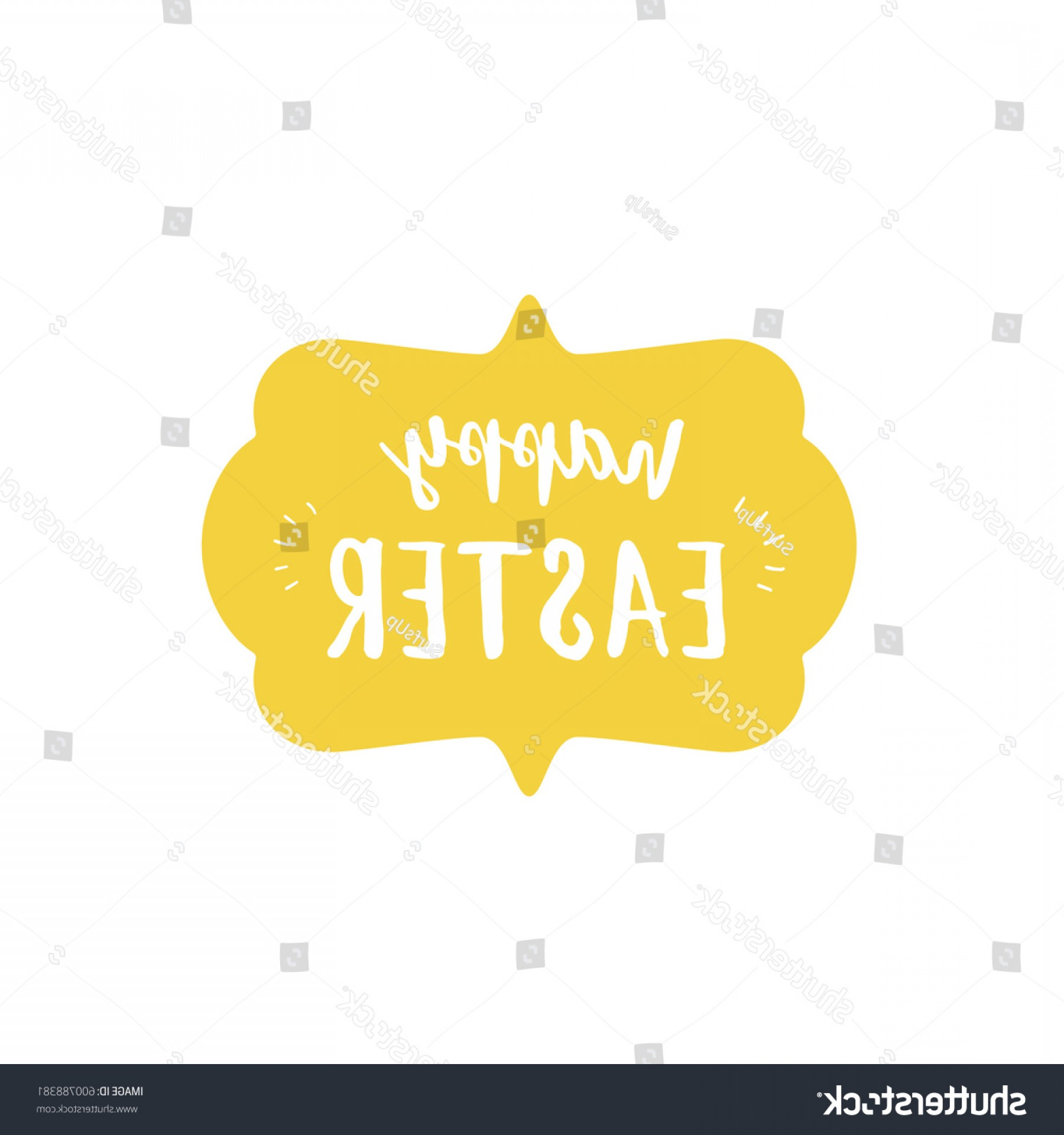 Nameplate Vector Graphics: Happy Easter Lettering Yellow Nameplate