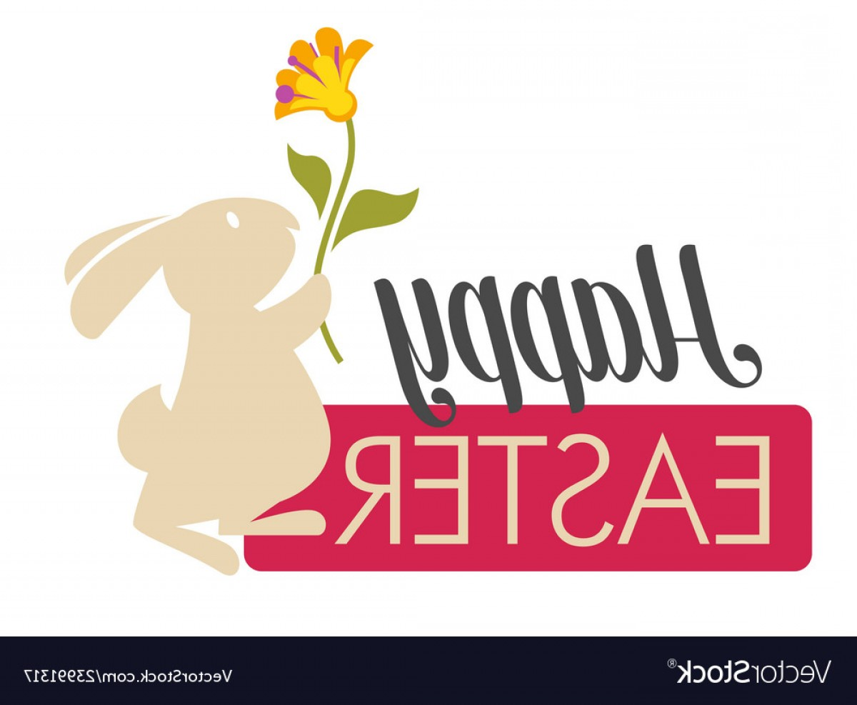 Religious Easter Vector Files: Happy Easter Religious Holiday White Bunny With Vector