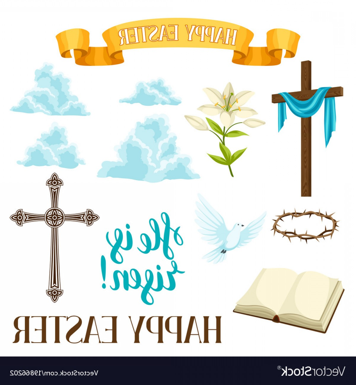 Religious Easter Vector Files: Happy Easter Set Of Decorative Objects Religious Vector