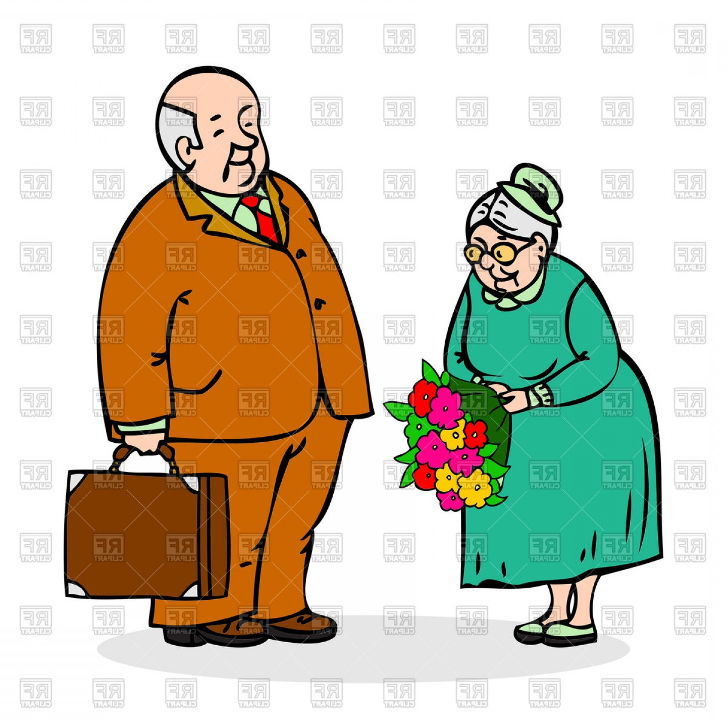 Happy Elderly Vector: Happy Elderly Couple Old Man With Bouquet Of Flowers Vector Clipart